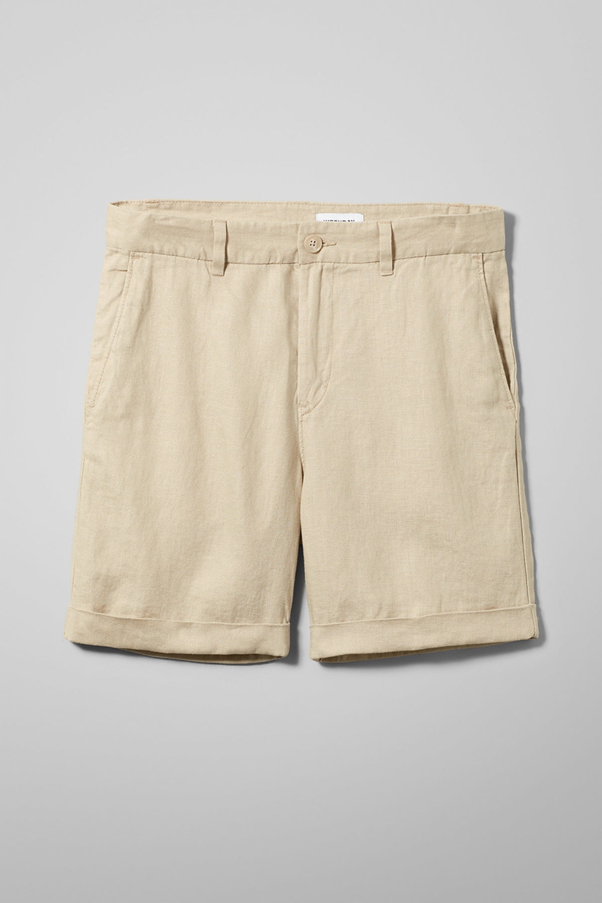 Front image of Weekday mash shorts in beige