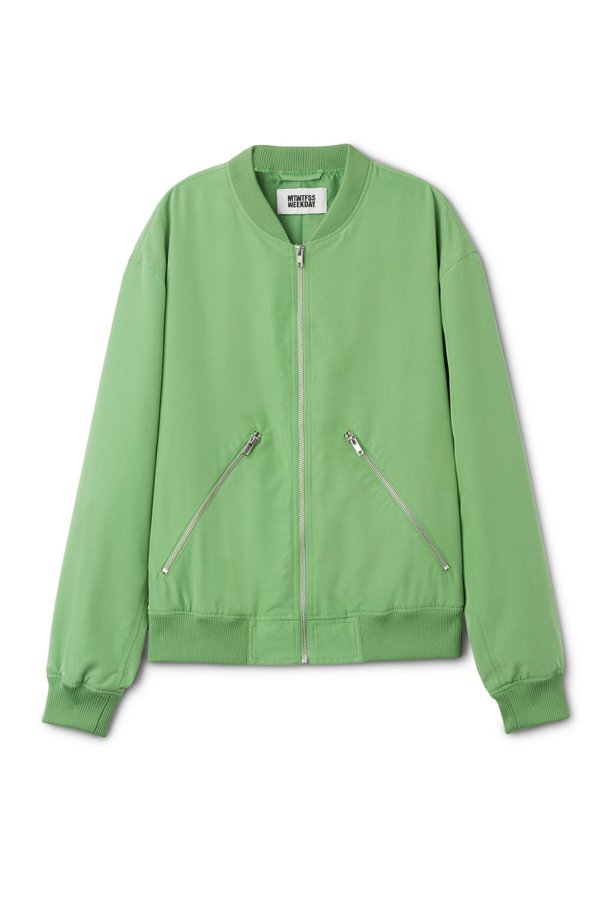 Front image of Weekday monoc bomber jacket in green