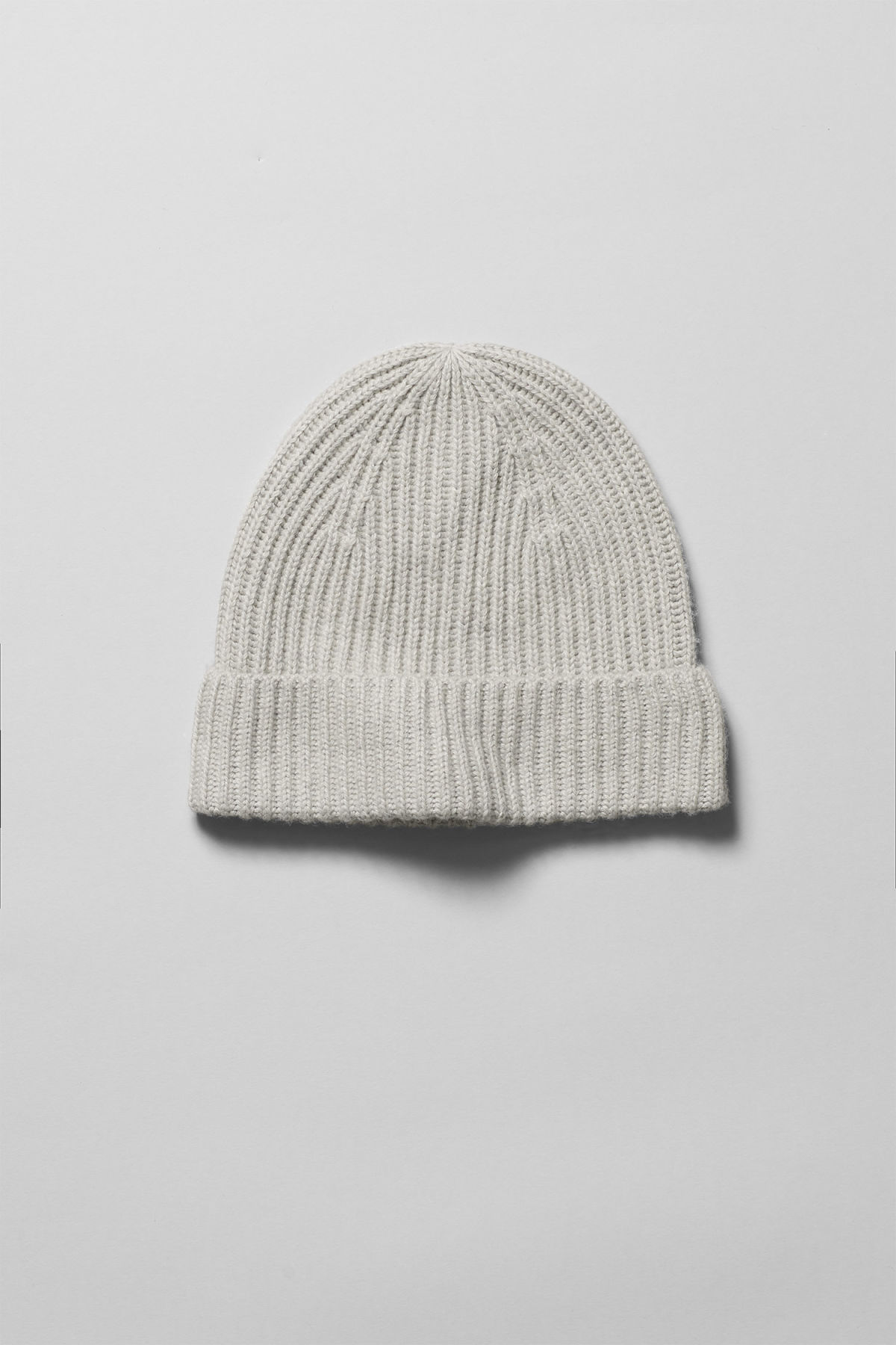 Front image of Weekday place knit beanie in grey