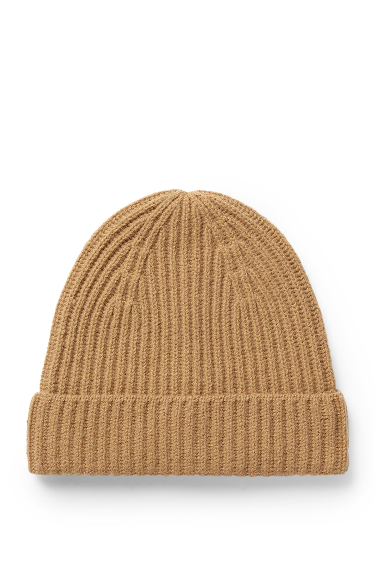 Front image of Weekday place knit beanie in yellow