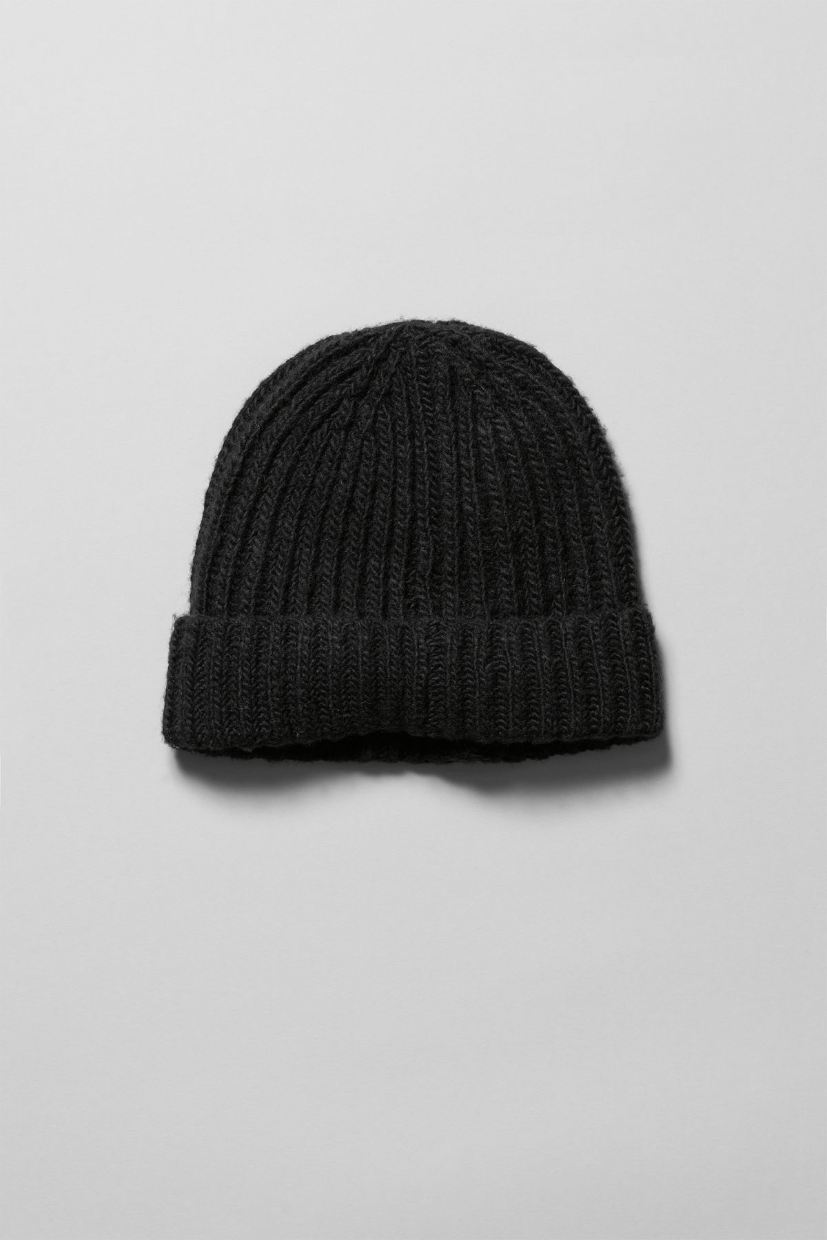 Front image of Weekday place knit beanie in black