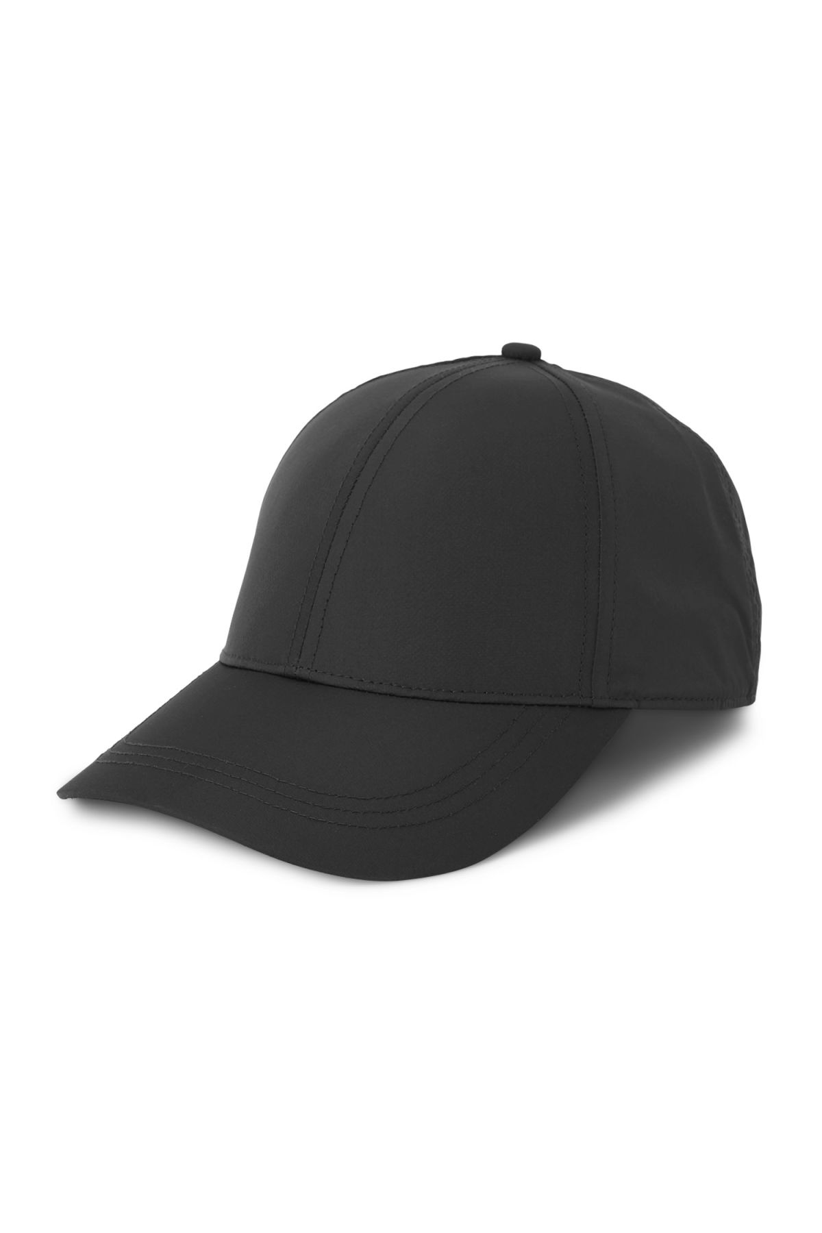 Front image of Weekday steal cap in black
