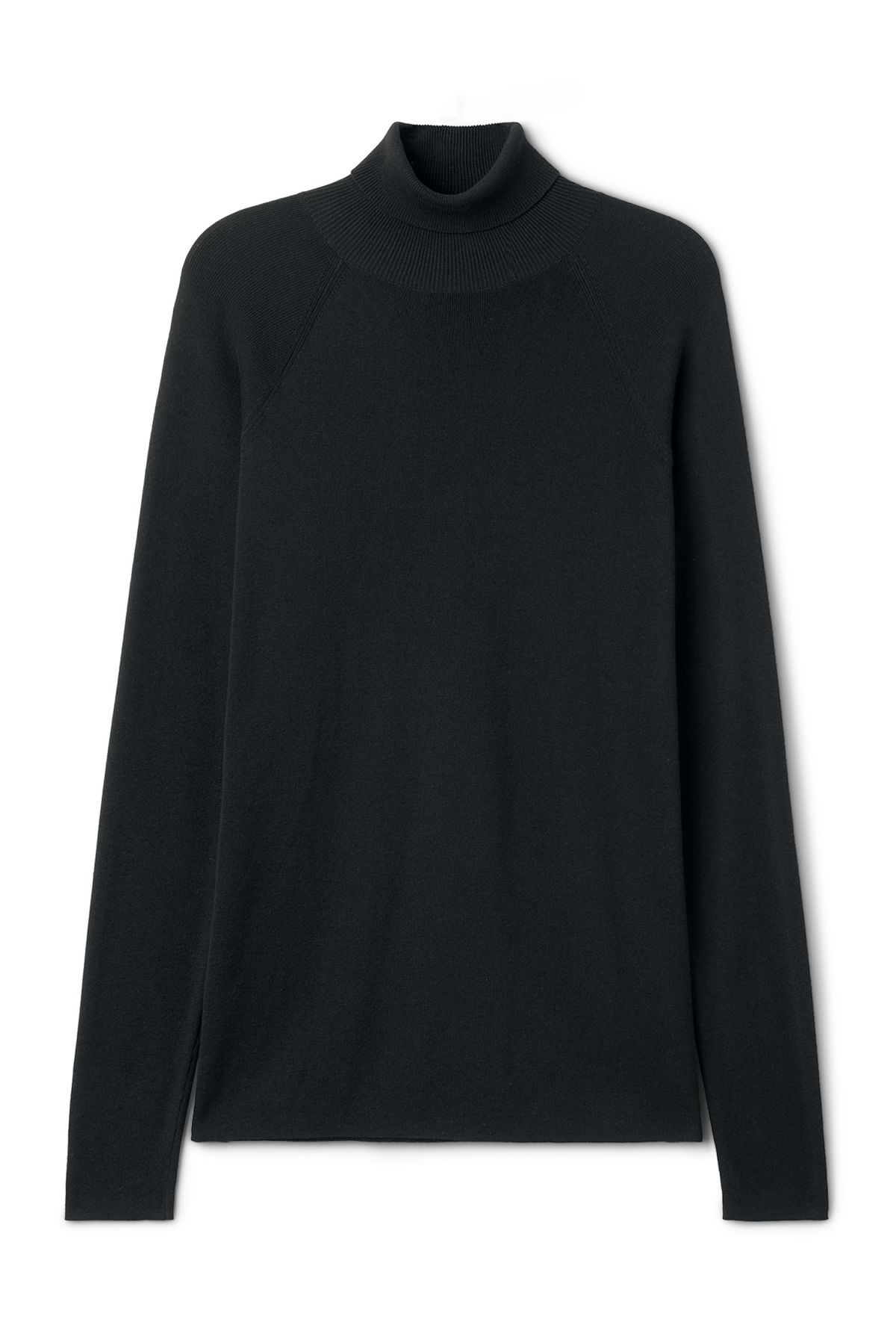 Front image of Weekday trey turtleneck sweater in black