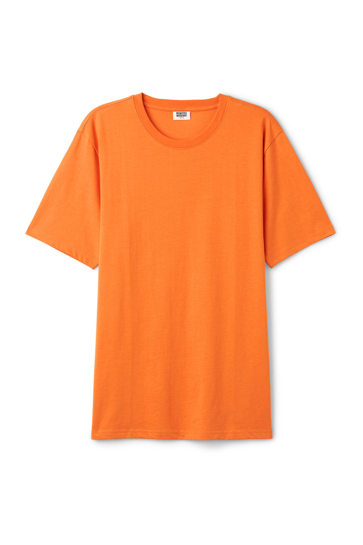 Front image of Weekday frank t-shirt in orange