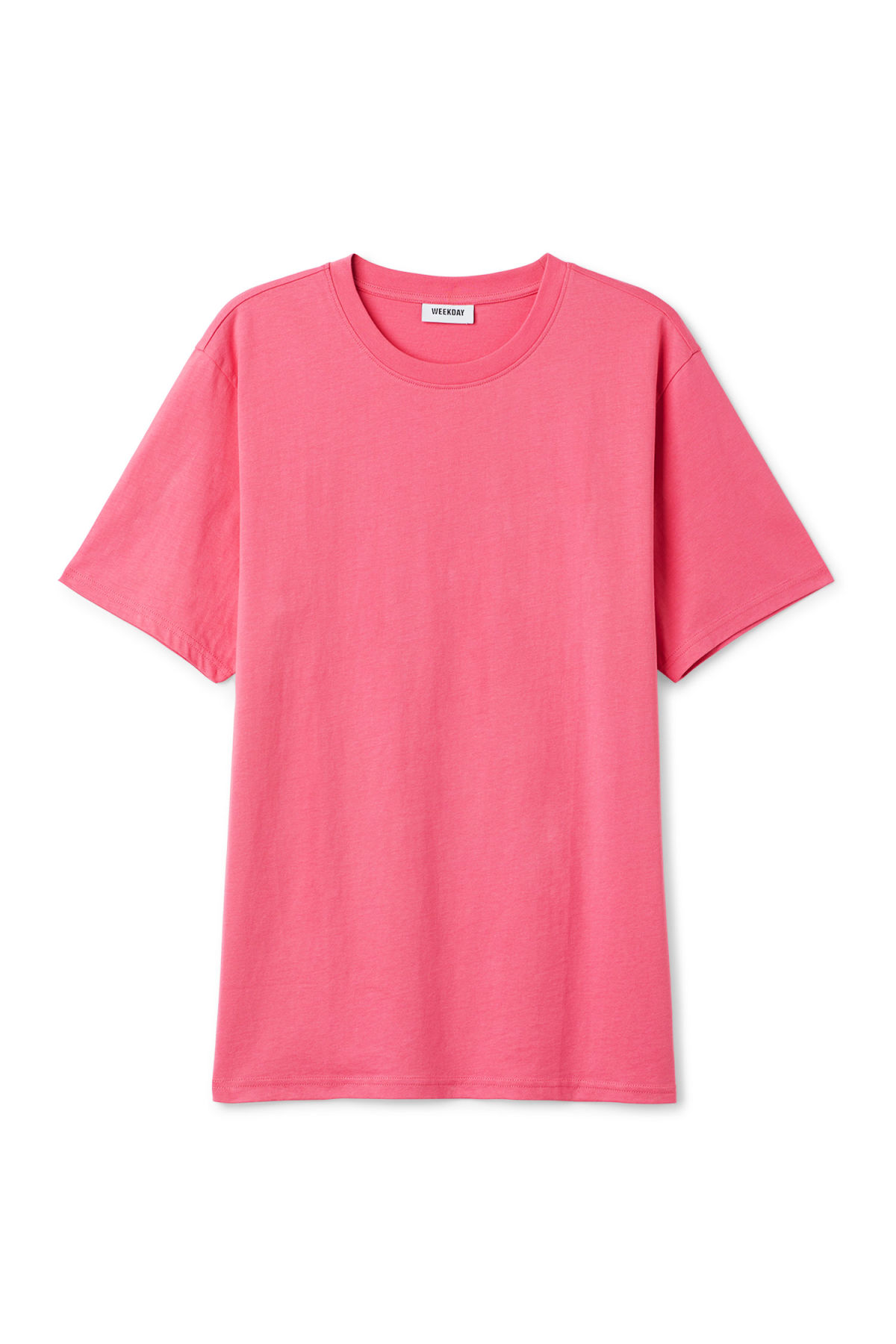 Front image of Weekday frank t-shirt in pink
