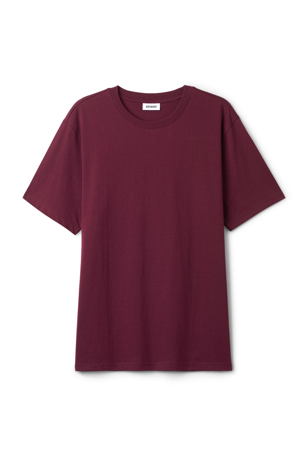 Front image of Weekday frank t-shirt in red