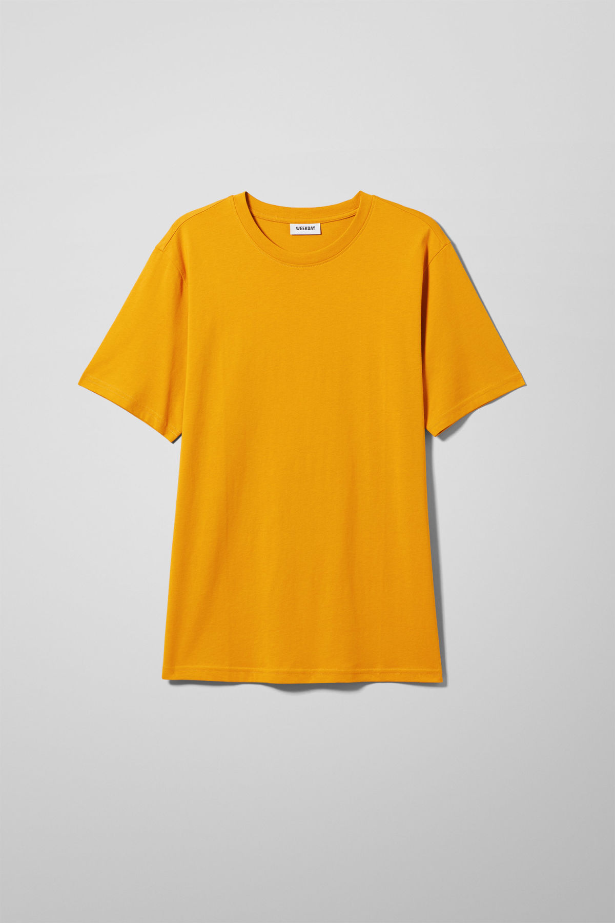 Front image of Weekday frank t-shirt in yellow