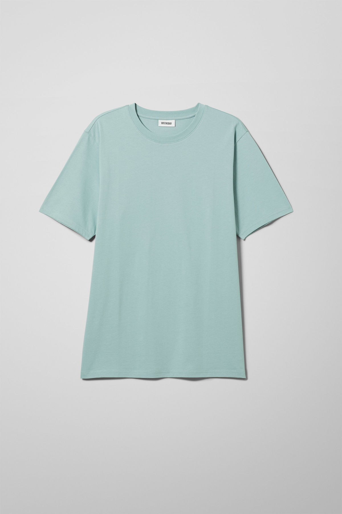 Front image of Weekday frank t-shirt in turquoise