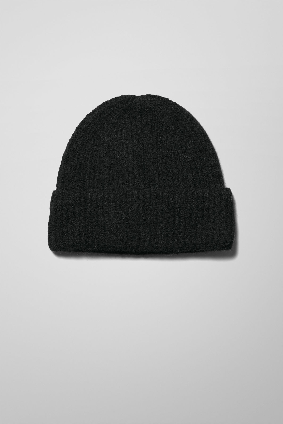 Front image of Weekday mon cashmere knit beanie in black