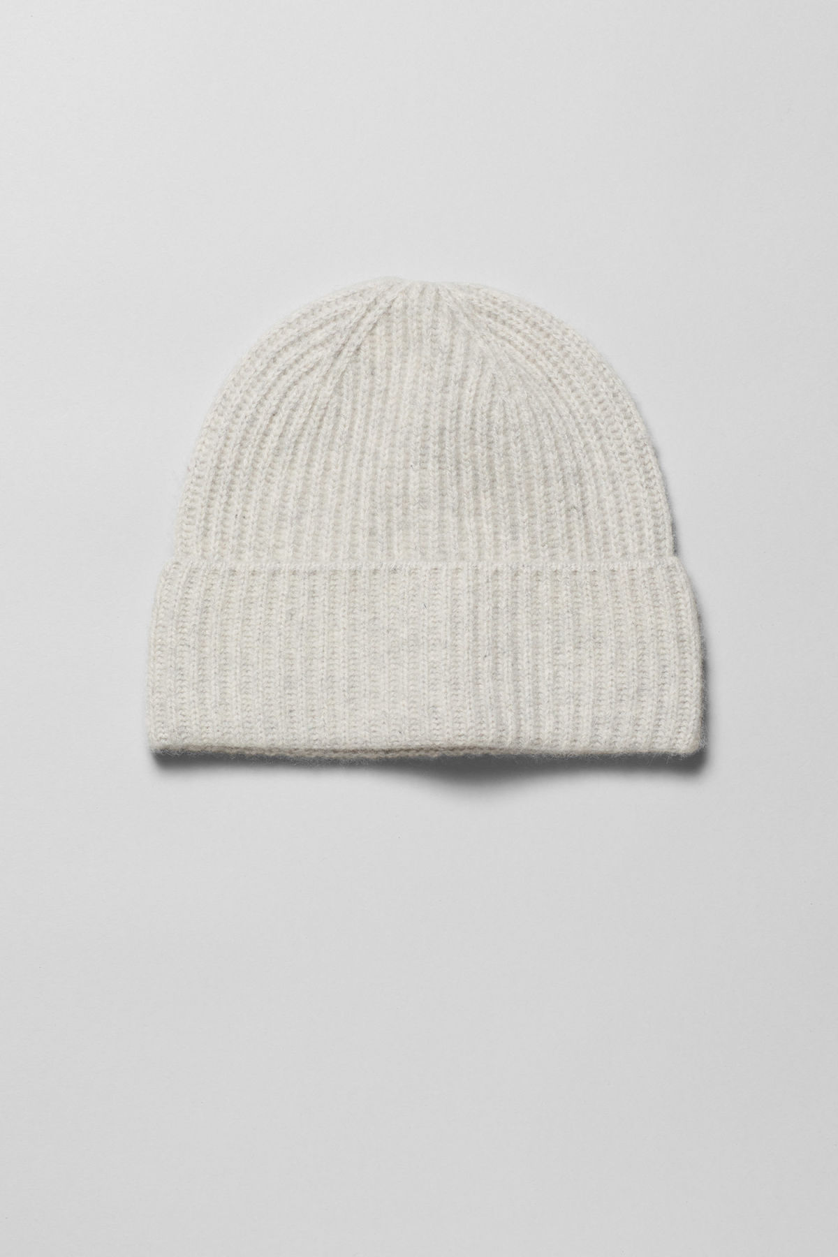 Front image of Weekday mon cashmere knit beanie in grey