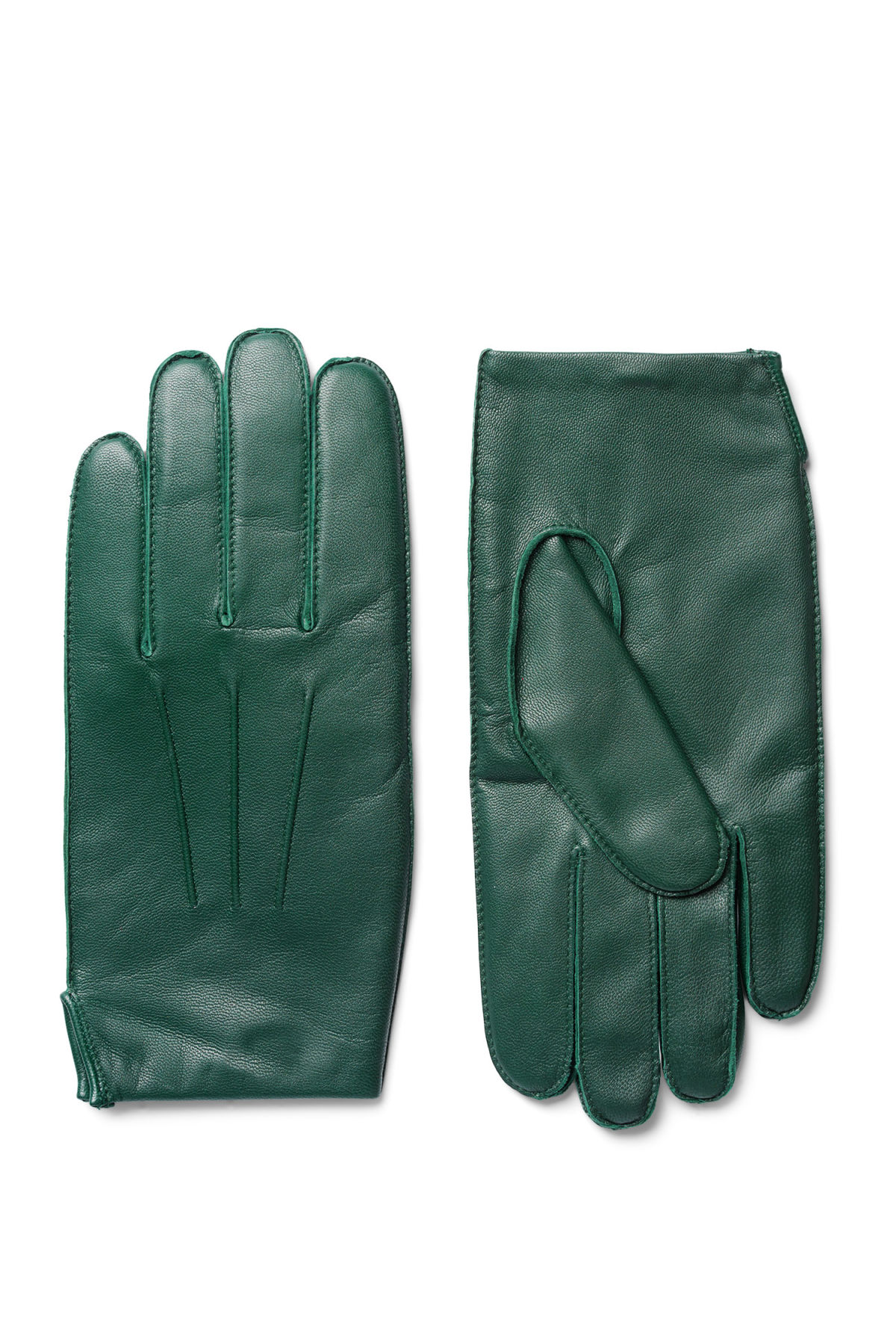 Front image of Weekday end leather gloves in green