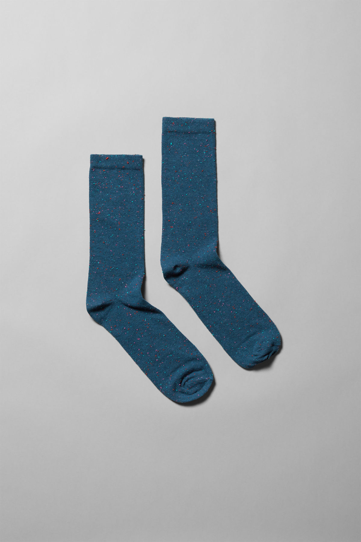 Front image of Weekday feet neps socks in blue
