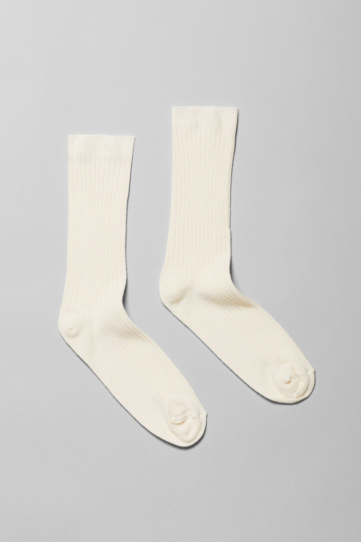 Front image of Weekday bam socks in white