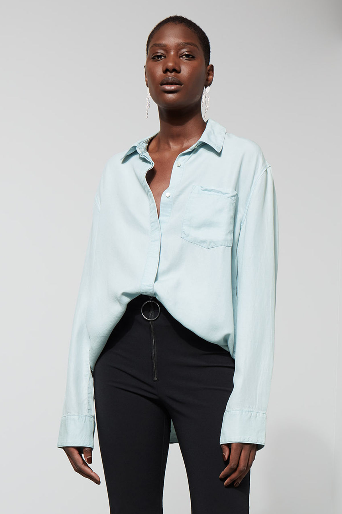Front image of Weekday big denim shirt in blue
