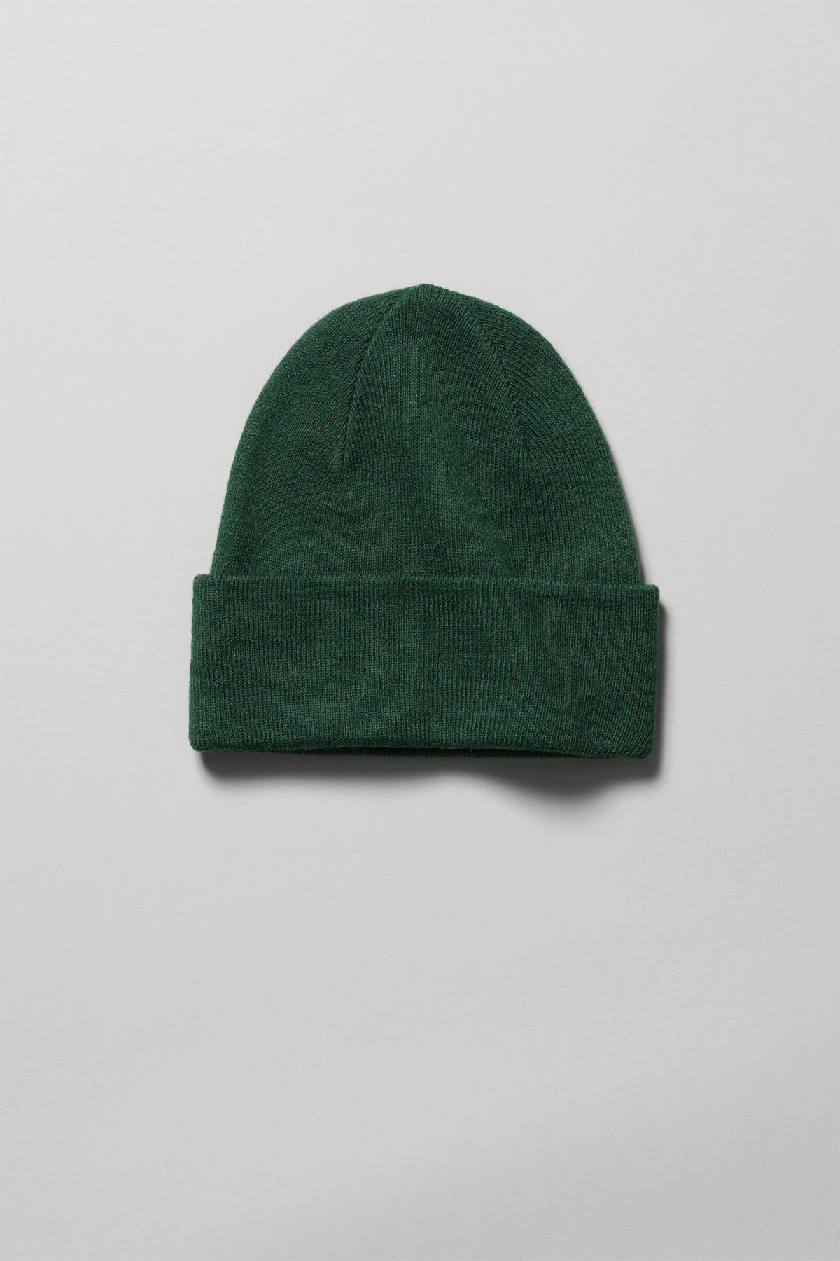 Front image of Weekday hero knit beanie in green