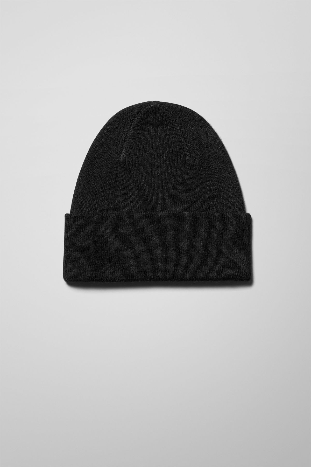Front image of Weekday hero knit beanie in black