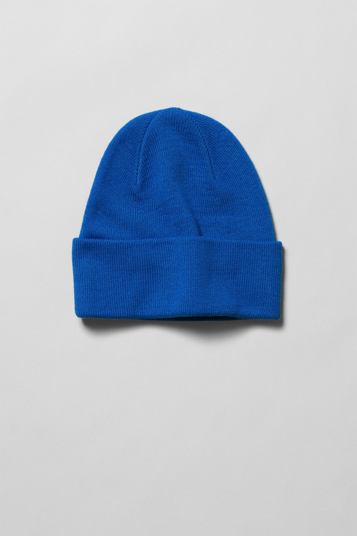 Front image of Weekday hero knit beanie in blue