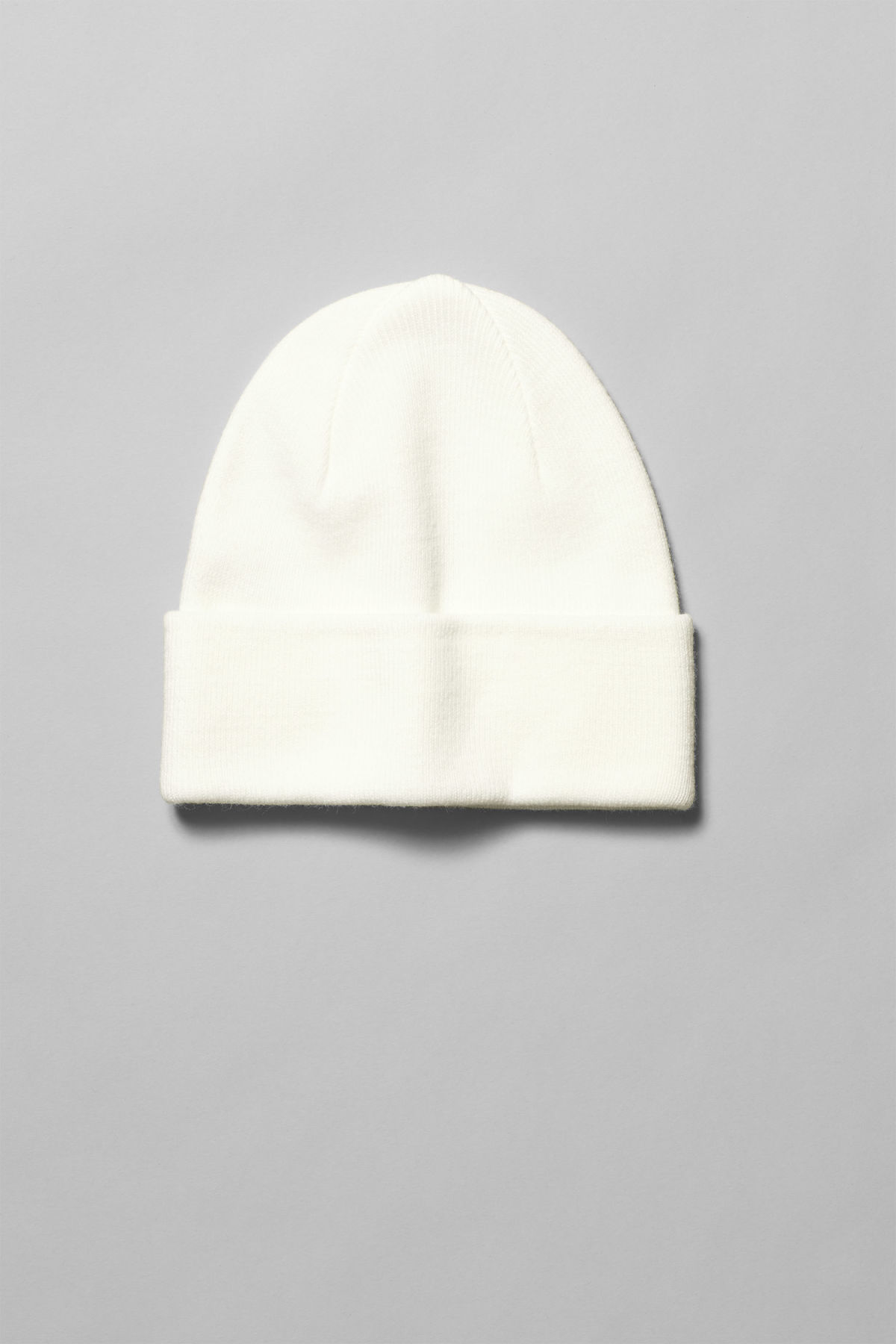 Front image of Weekday hero knit beanie in white