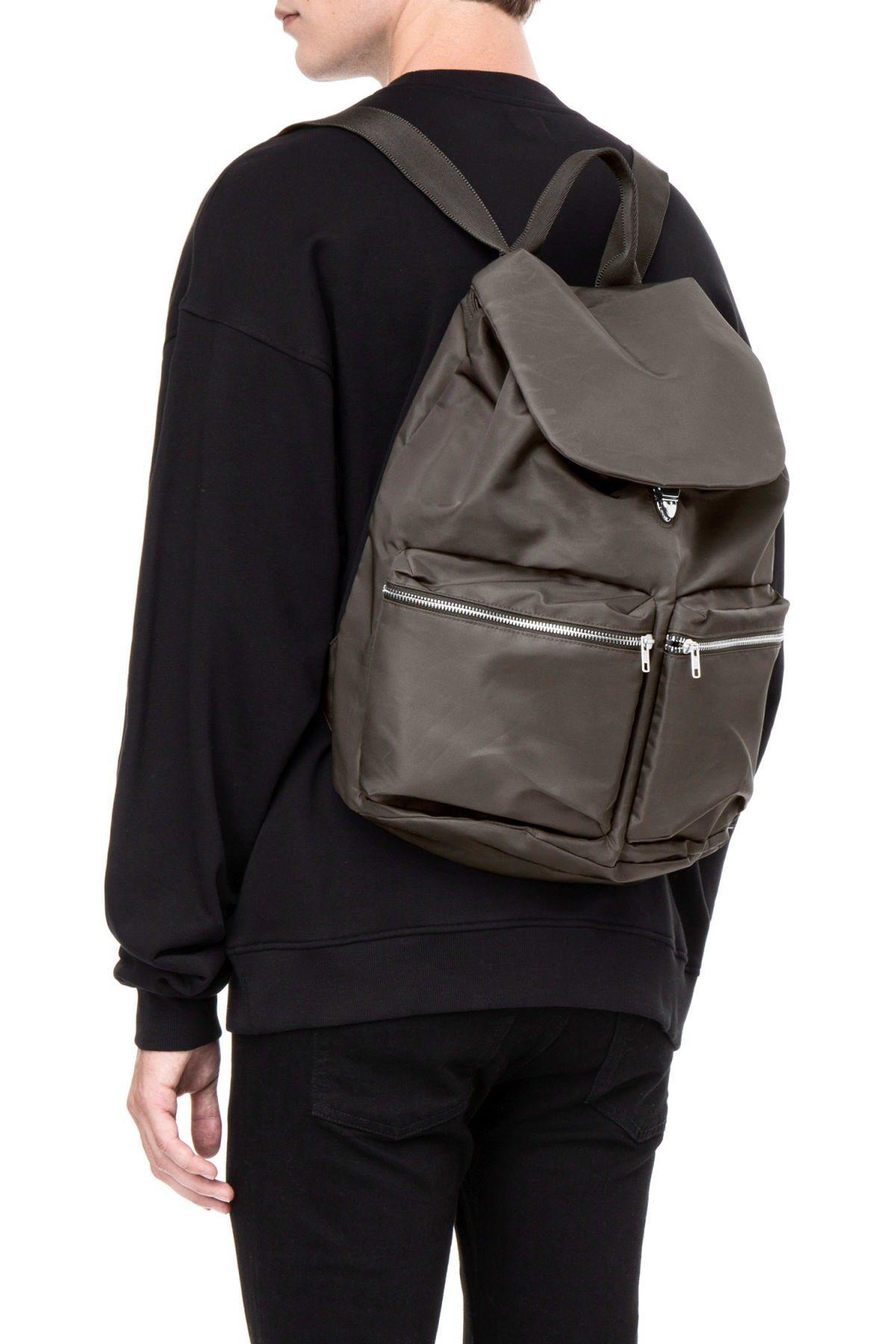 Front image of Weekday pocket backpack in green