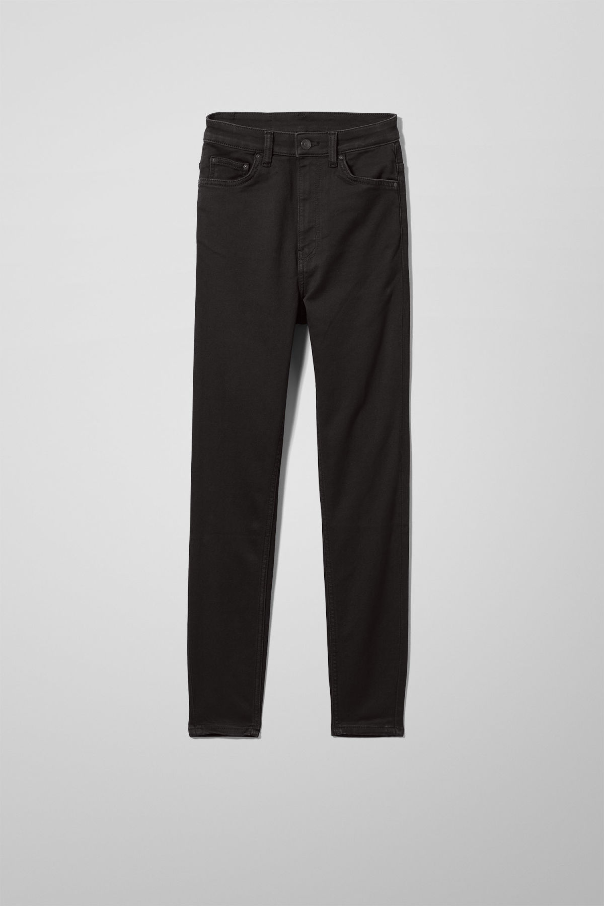 Front image of Weekday body high satin black jeans in black