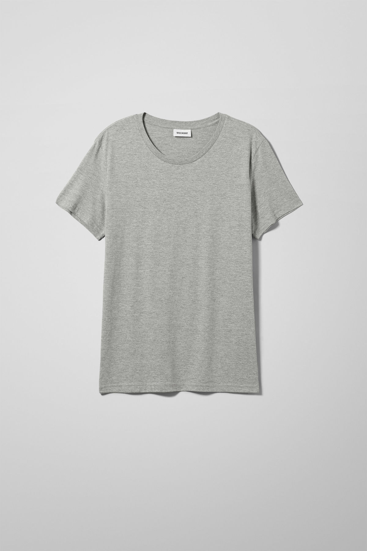 Front image of Weekday alex t-shirt in grey