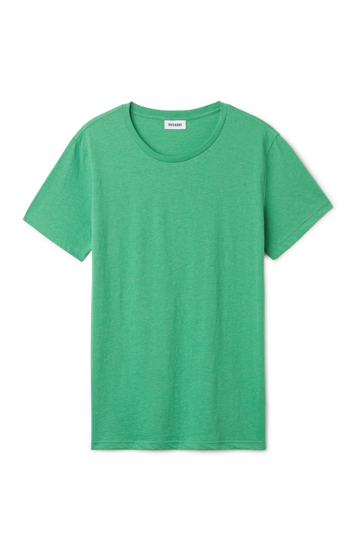 Front image of Weekday alex t-shirt in green