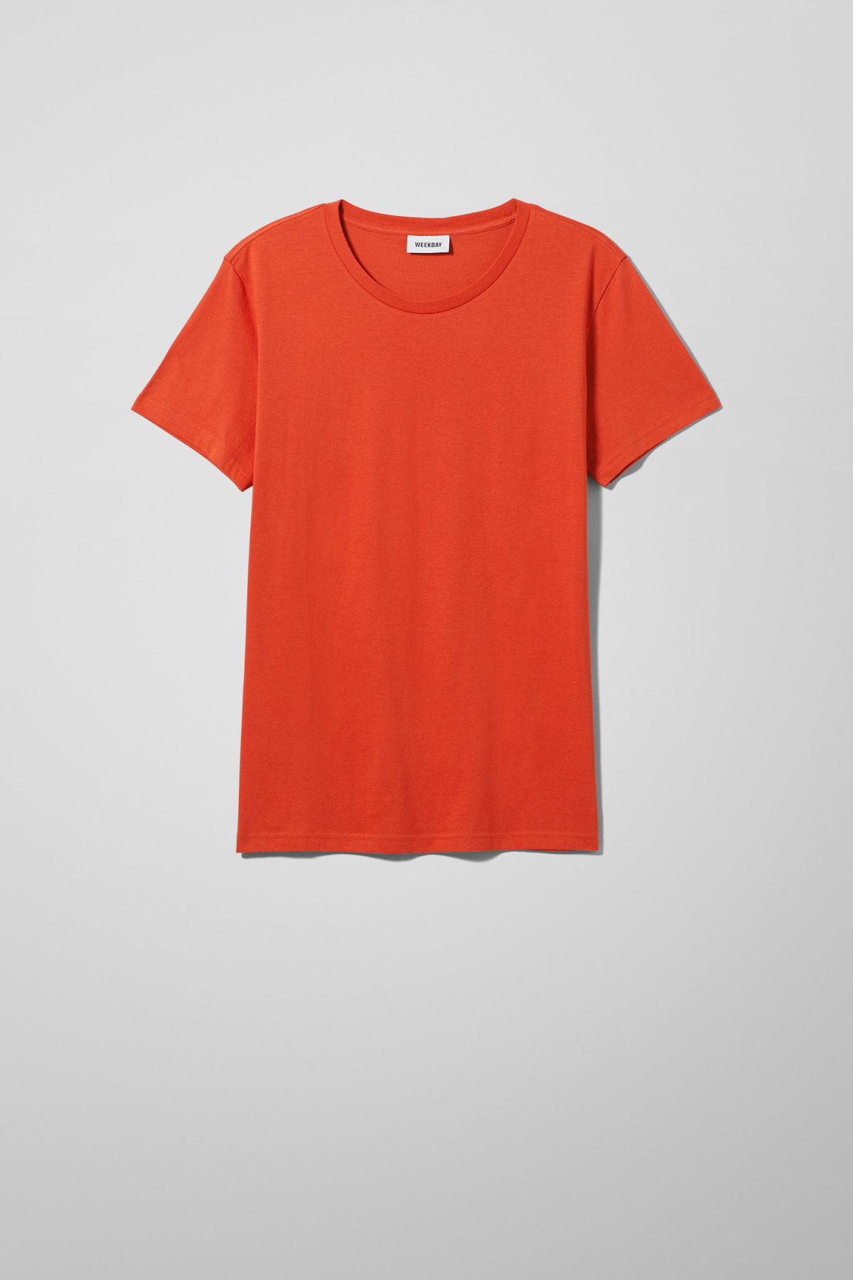 Front image of Weekday alex t-shirt in orange