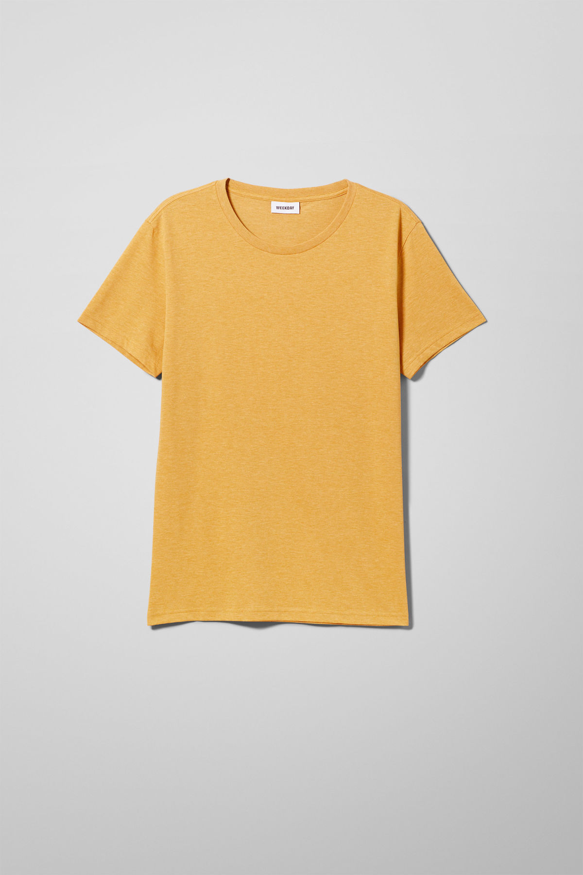 Front image of Weekday alex t-shirt in yellow