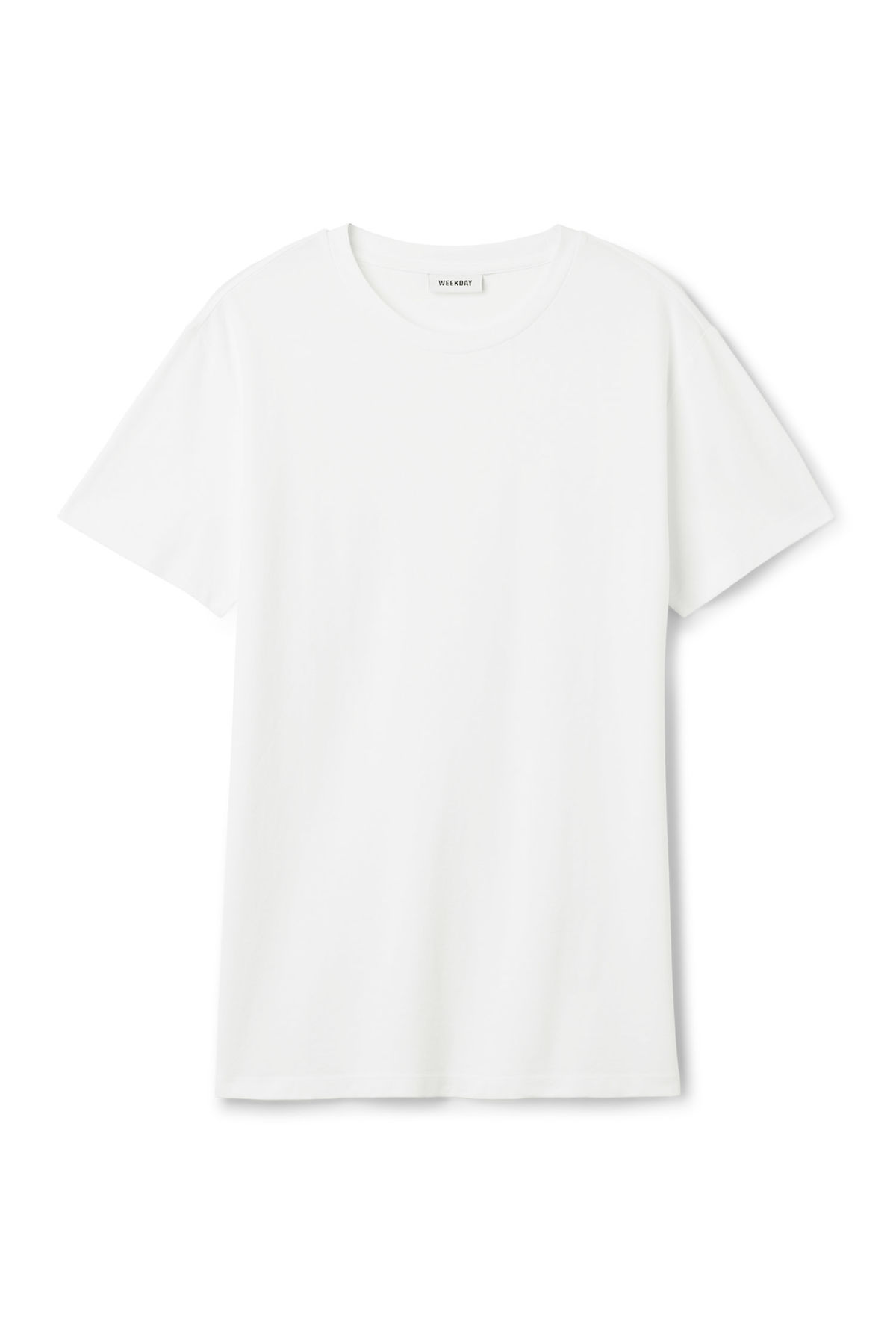 Front image of Weekday tennis t-shirt in white