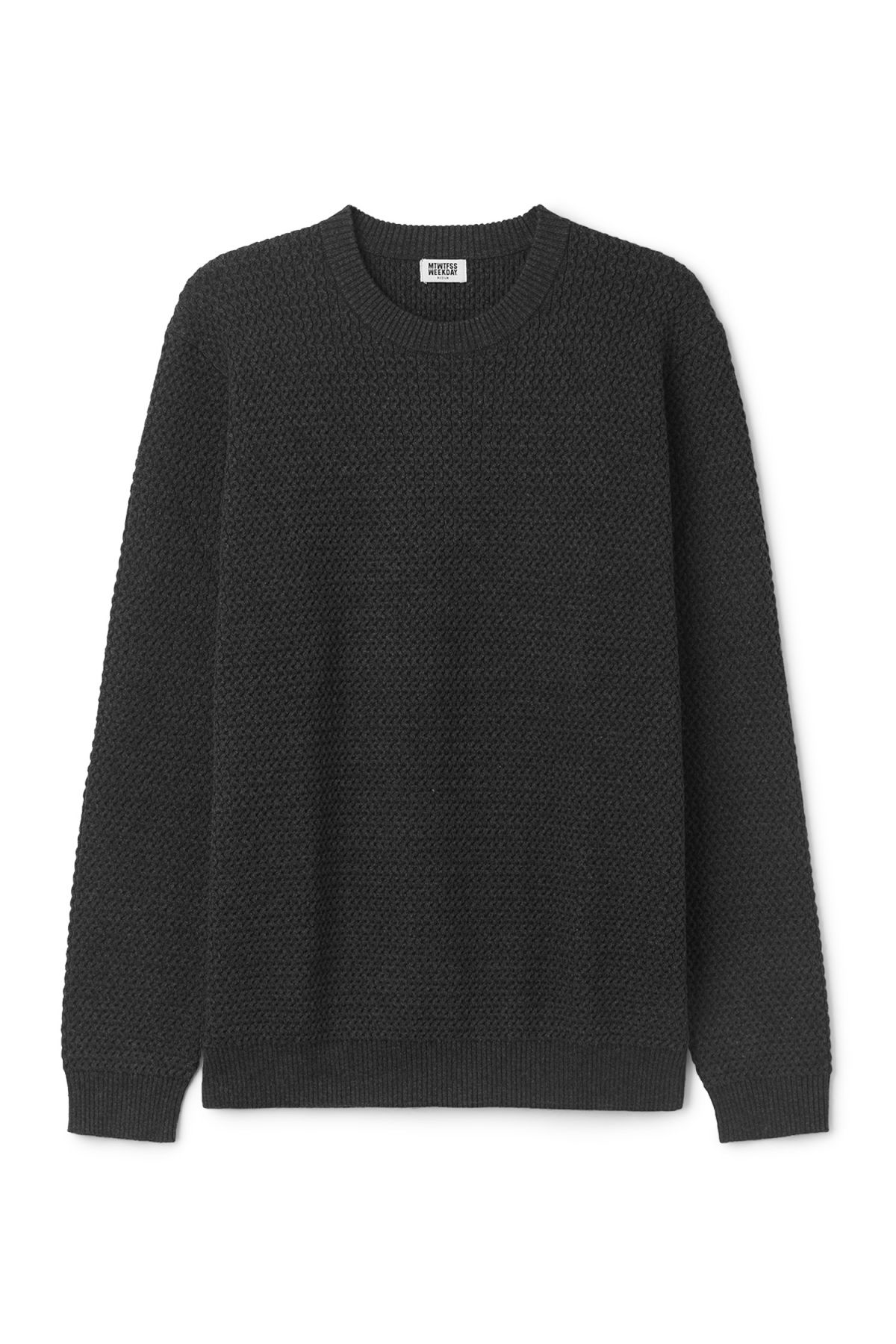 Front image of Weekday john knit sweater in grey