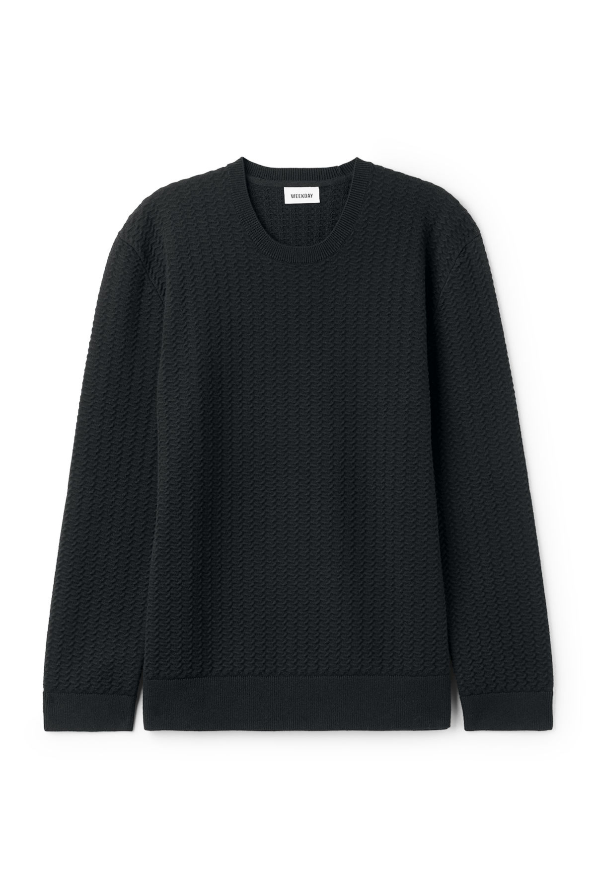 Front image of Weekday john knit sweater in black