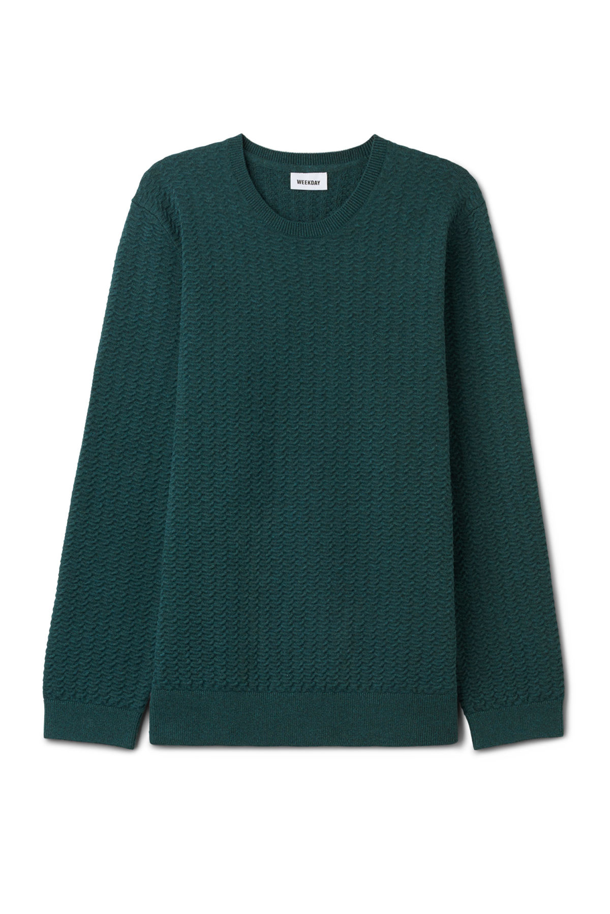 Front image of Weekday john knit sweater in turquoise