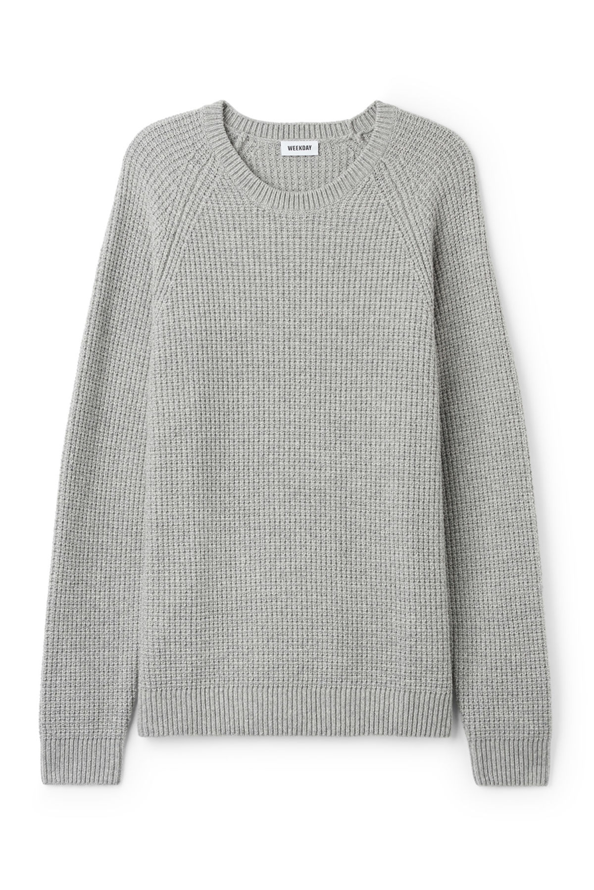 Front image of Weekday parker waffle sweater in grey