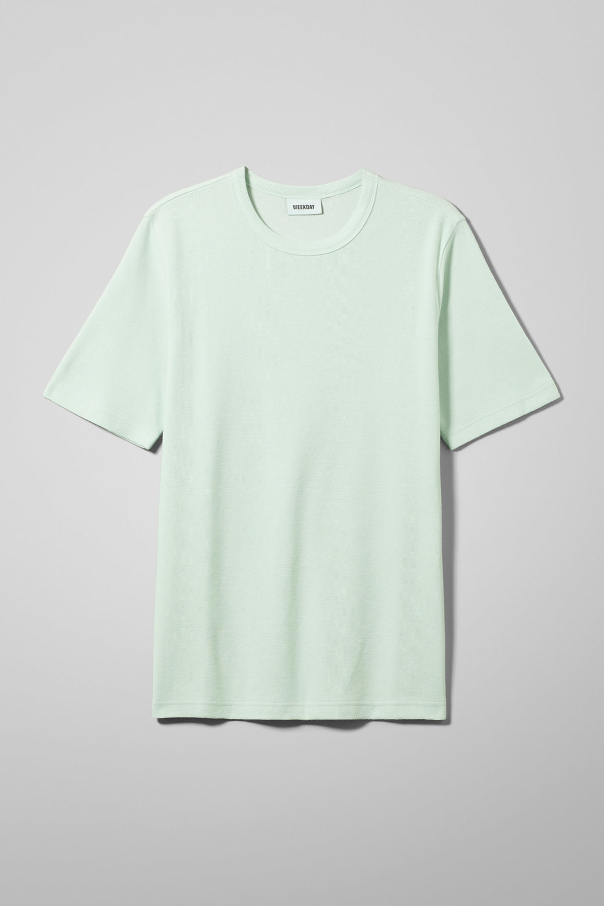 Front image of Weekday grinko t-shirt in turquoise