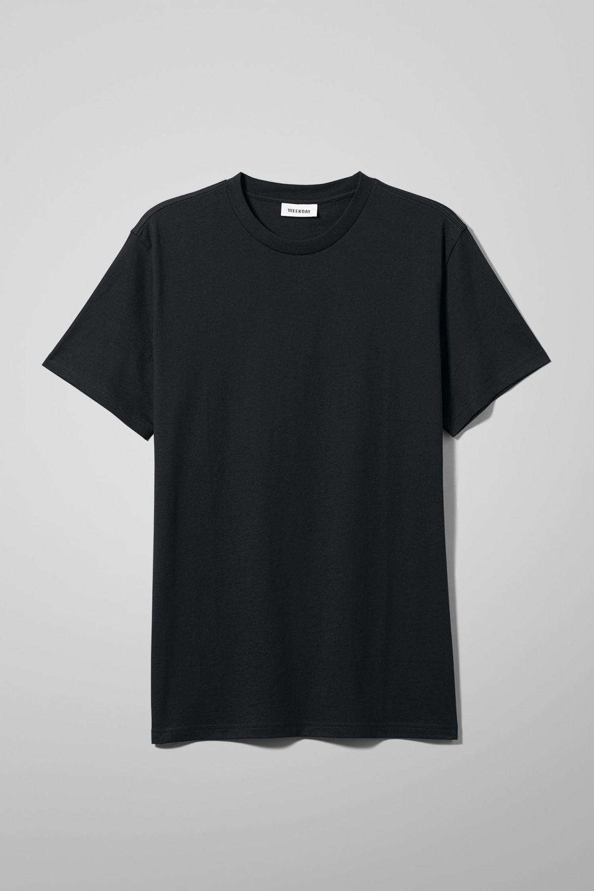 Front image of Weekday alan t-shirt in black
