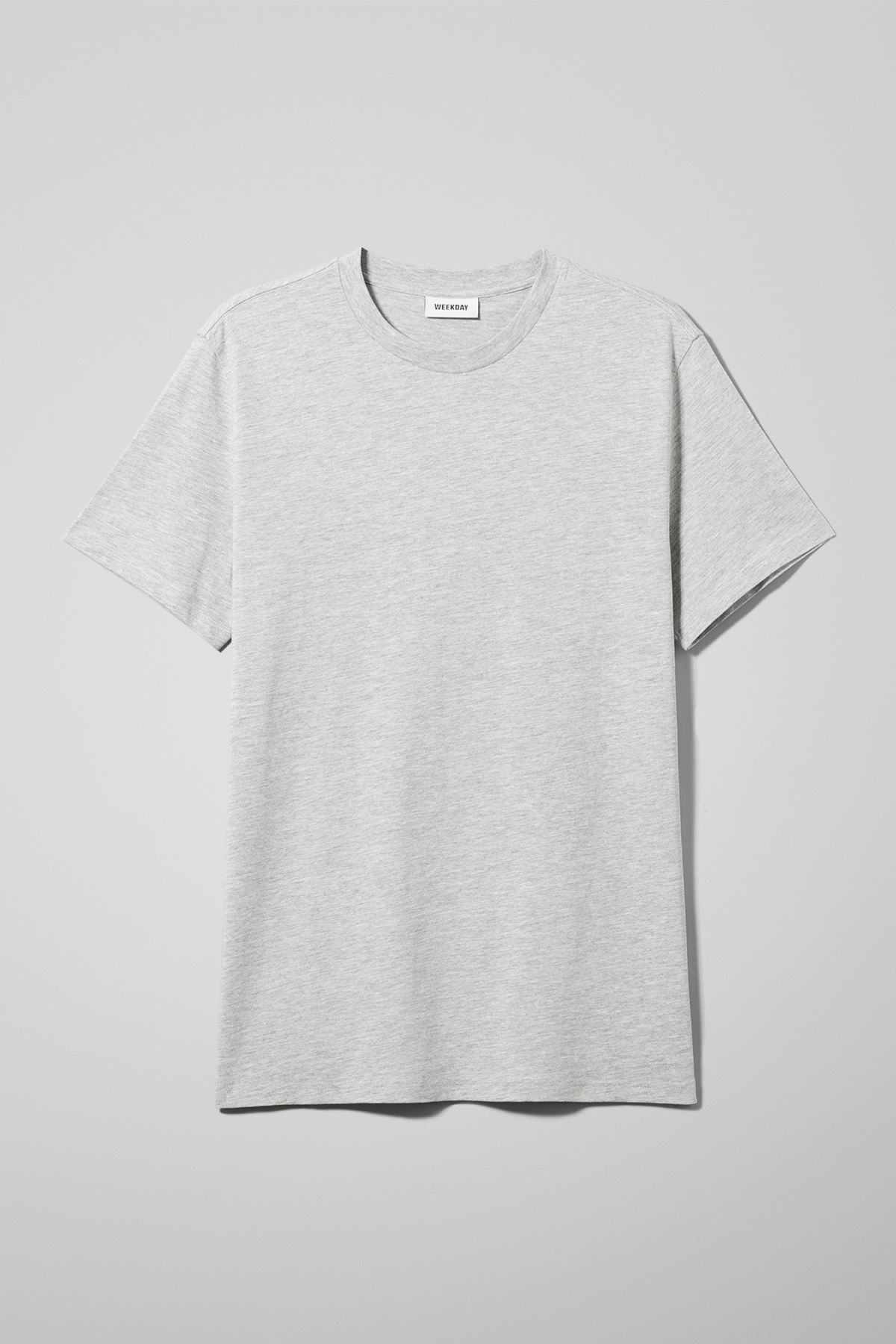 Front image of Weekday alan t-shirt in grey