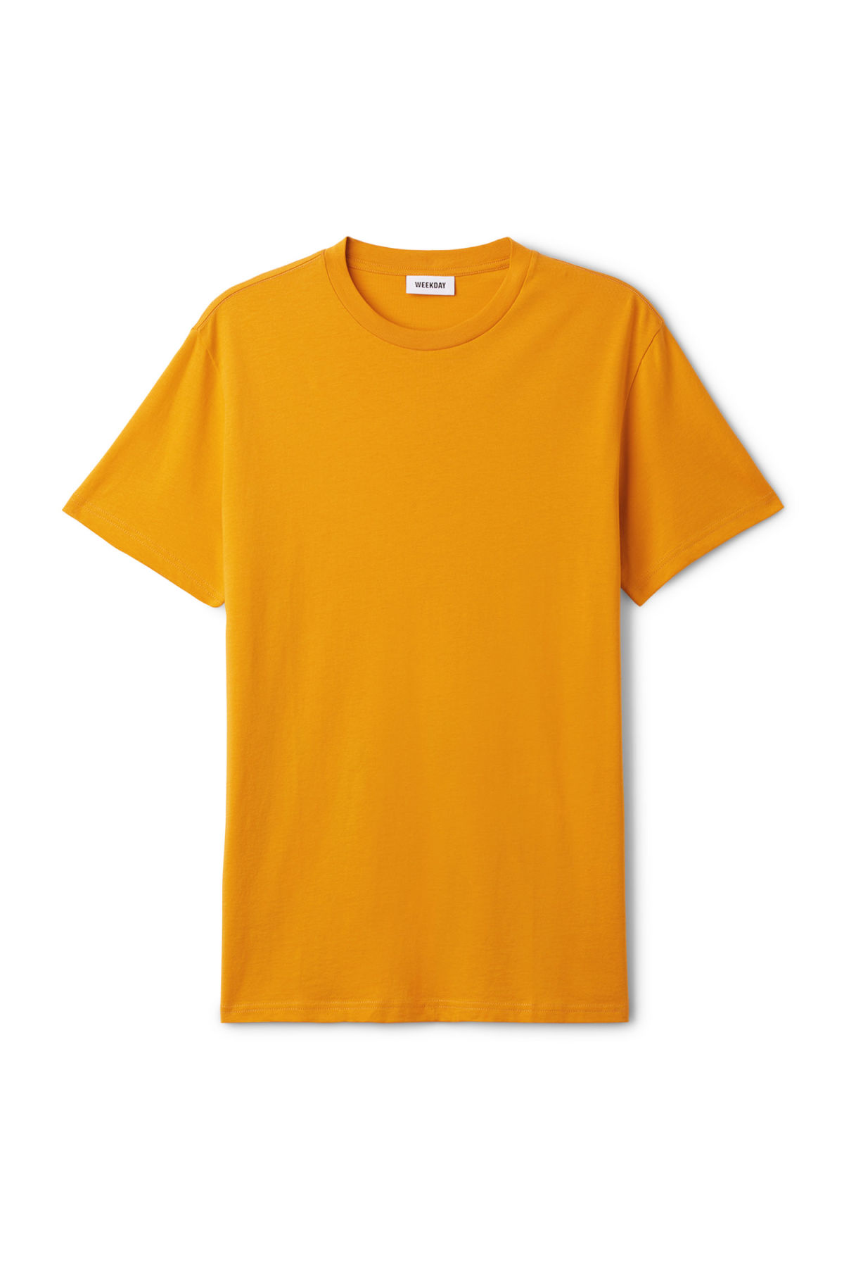 Front image of Weekday alan t-shirt in yellow