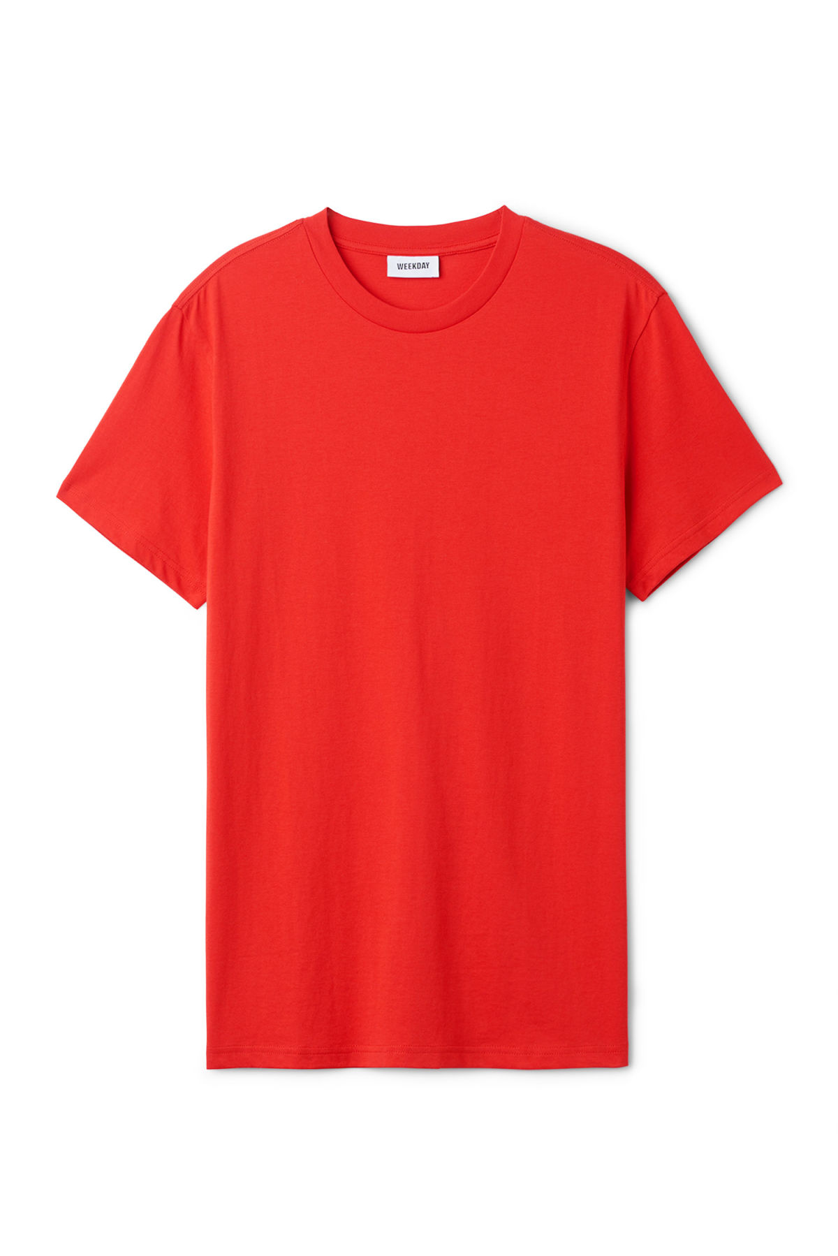 Front image of Weekday alan t-shirt in red
