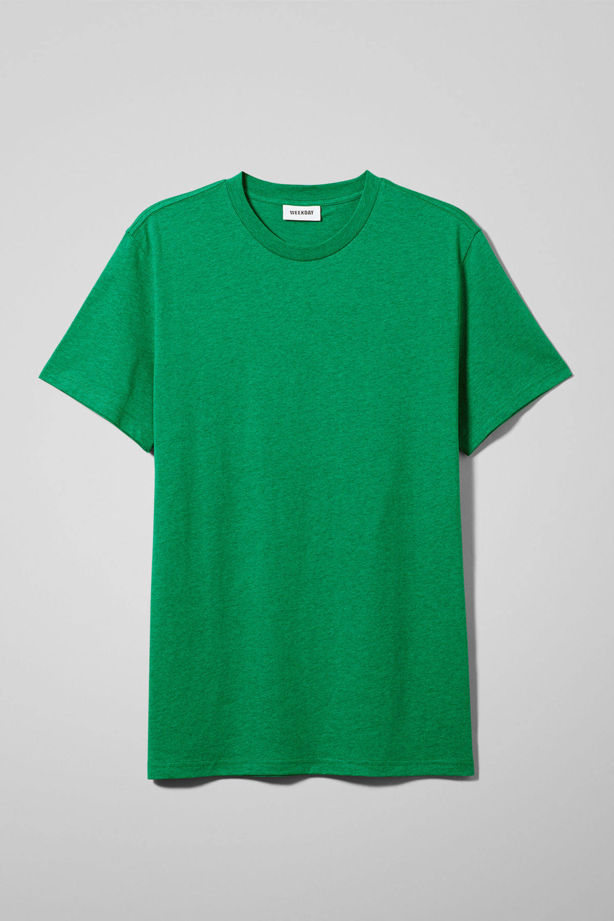 Front image of Weekday alan t-shirt in green