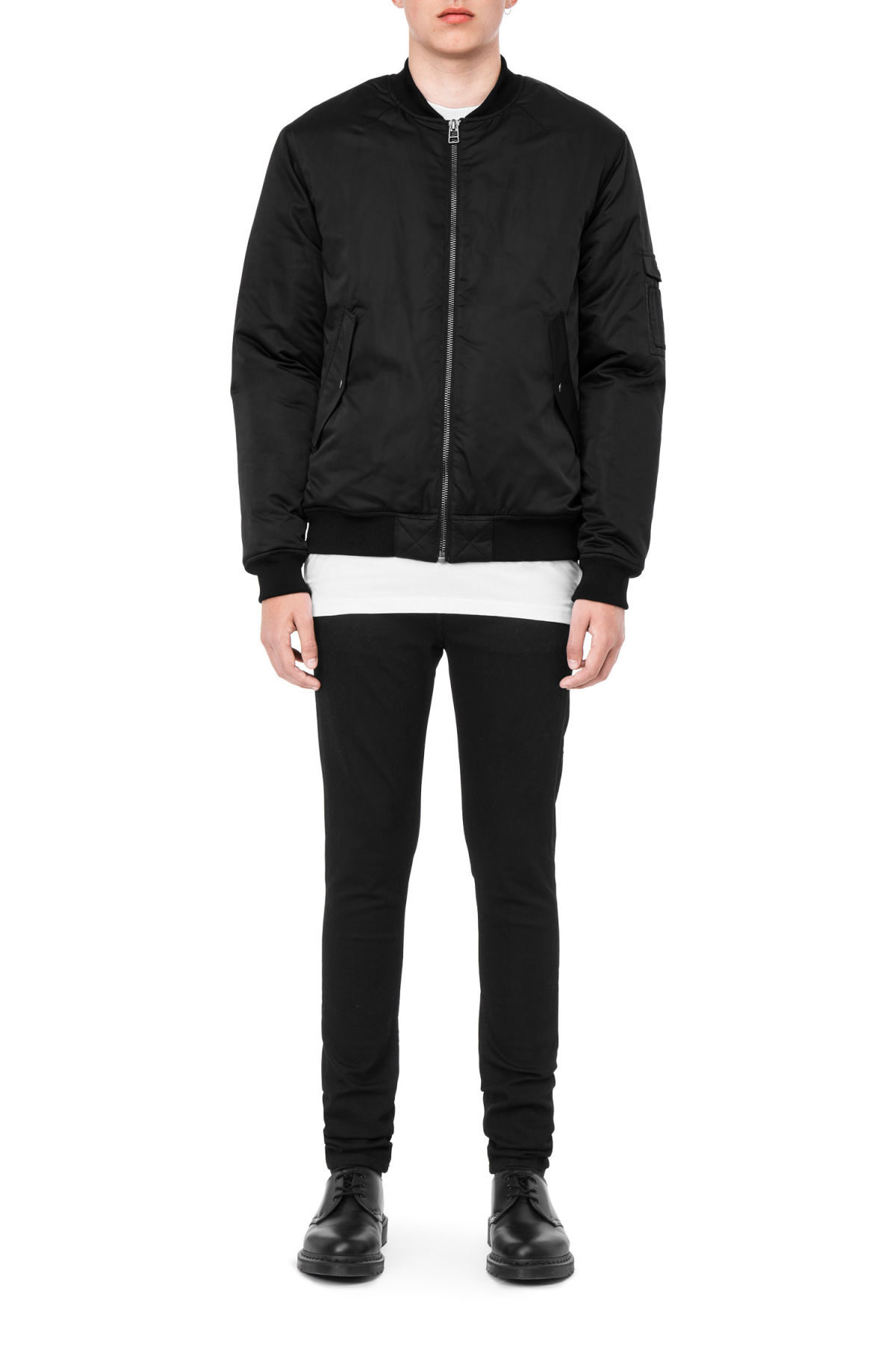 Front image of Weekday trooper jacket in black