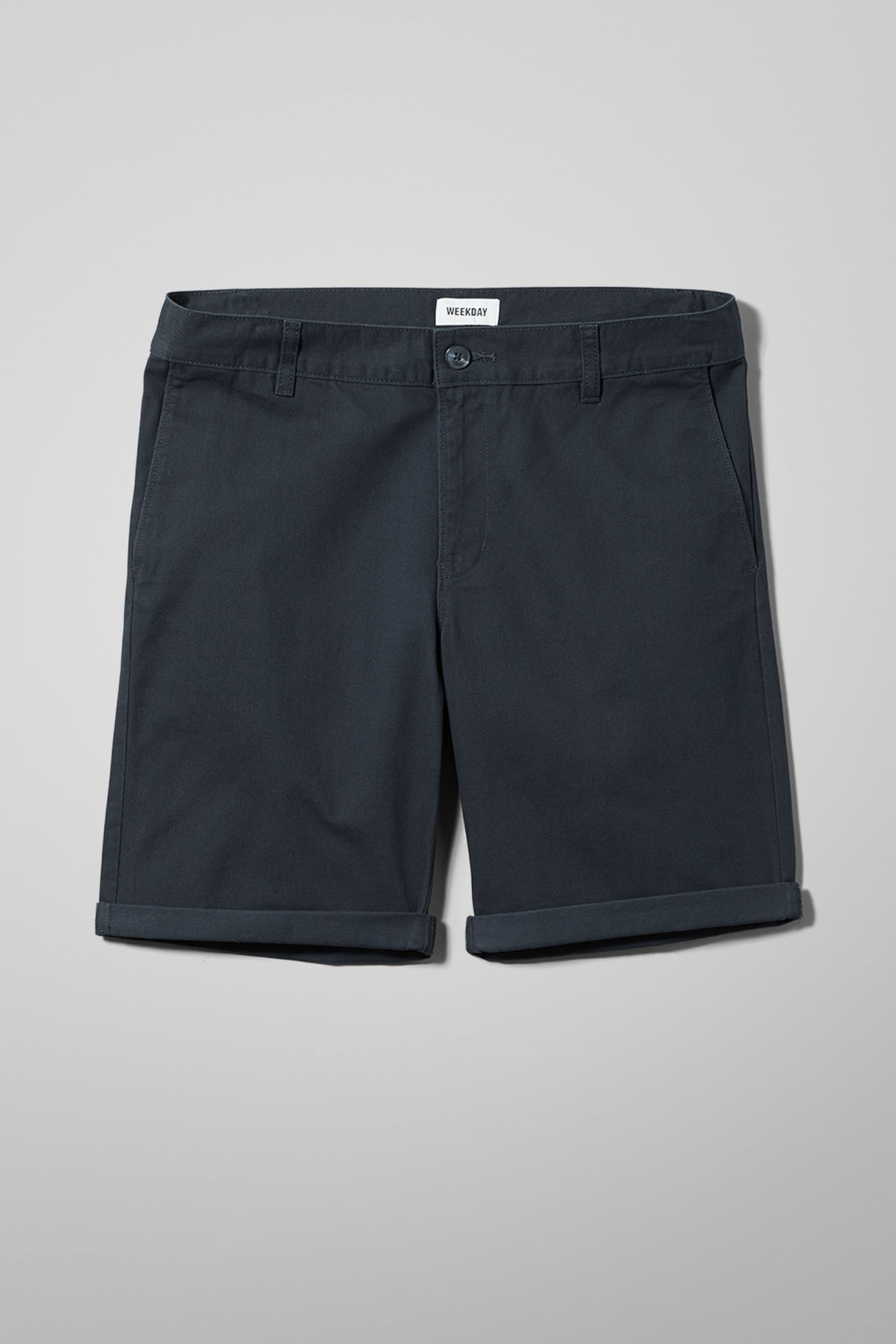 Front image of Weekday acid shorts in blue
