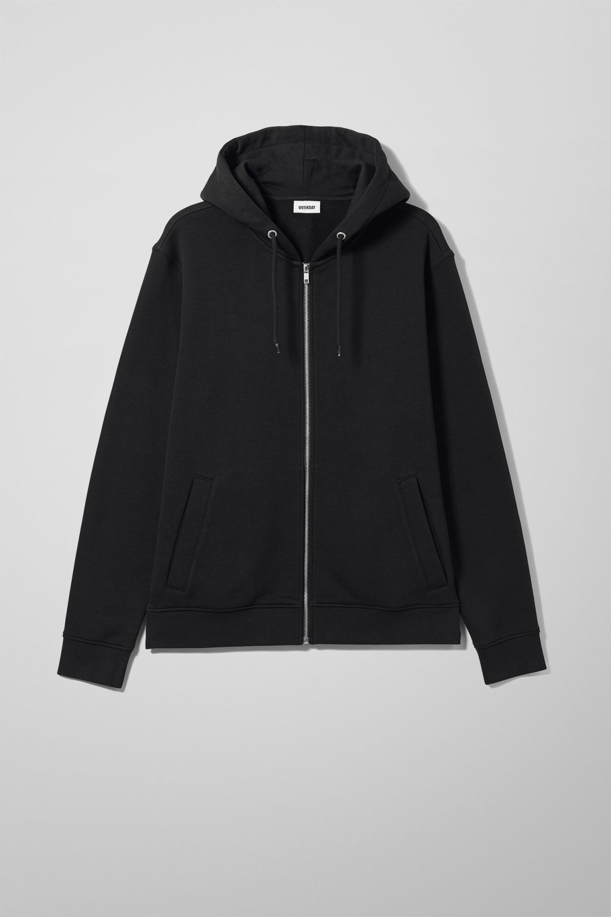 Front image of Weekday boom zipped hoodie in black