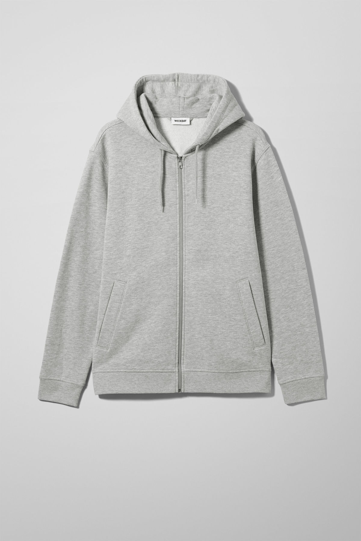 Front image of Weekday boom zipped hoodie in grey