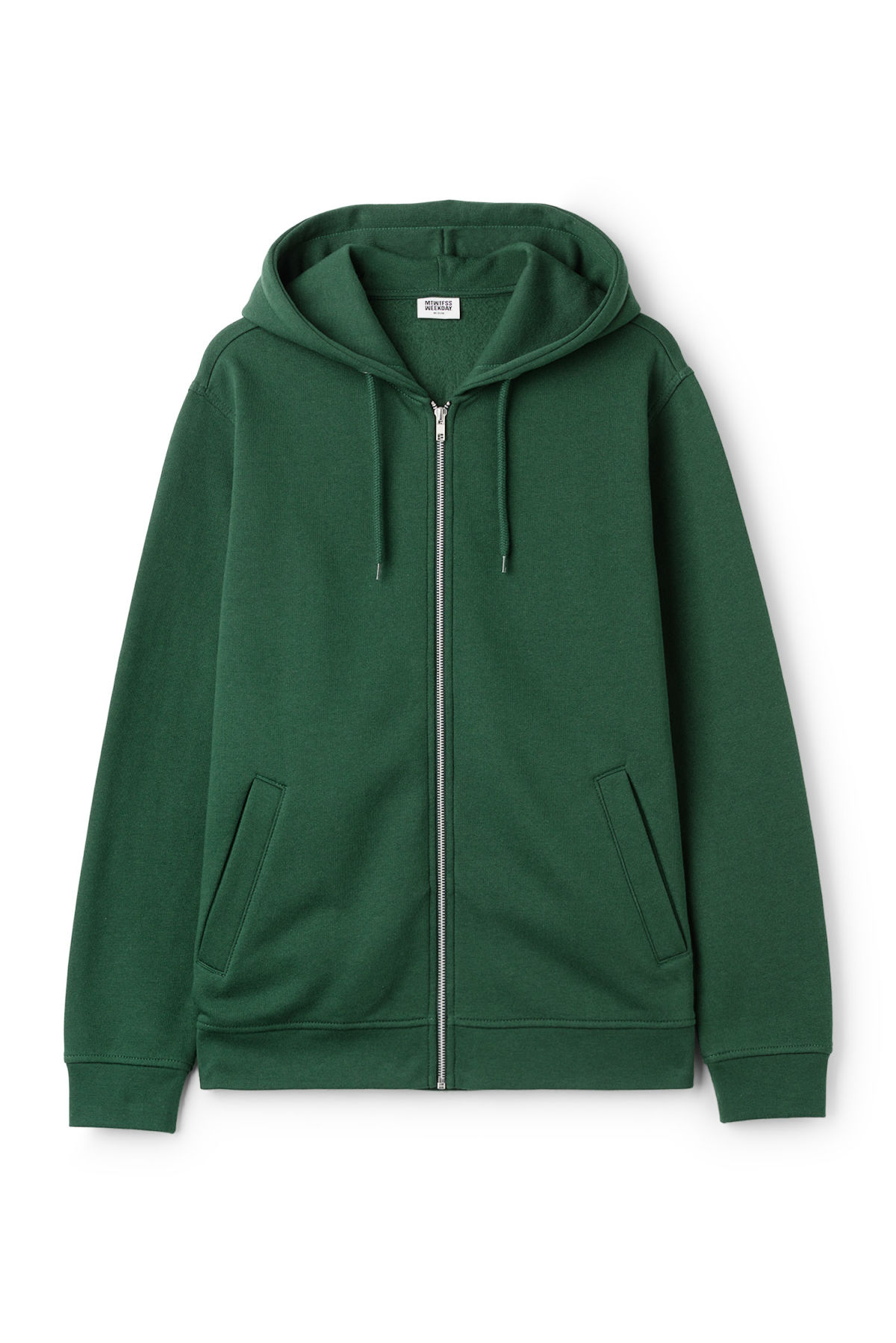 Front image of Weekday boom zipped hoodie in green
