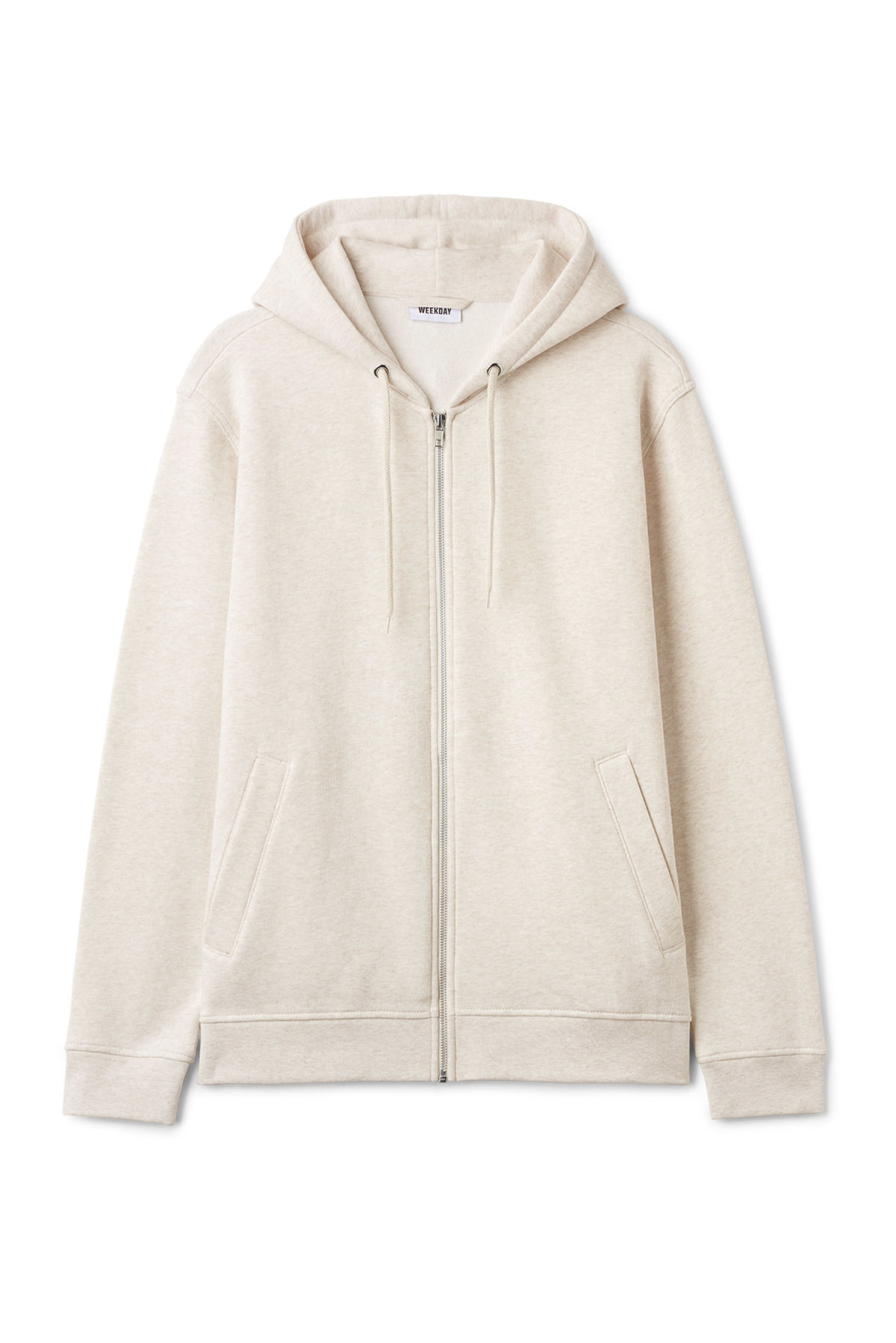 Front image of Weekday boom zipped hoodie in beige