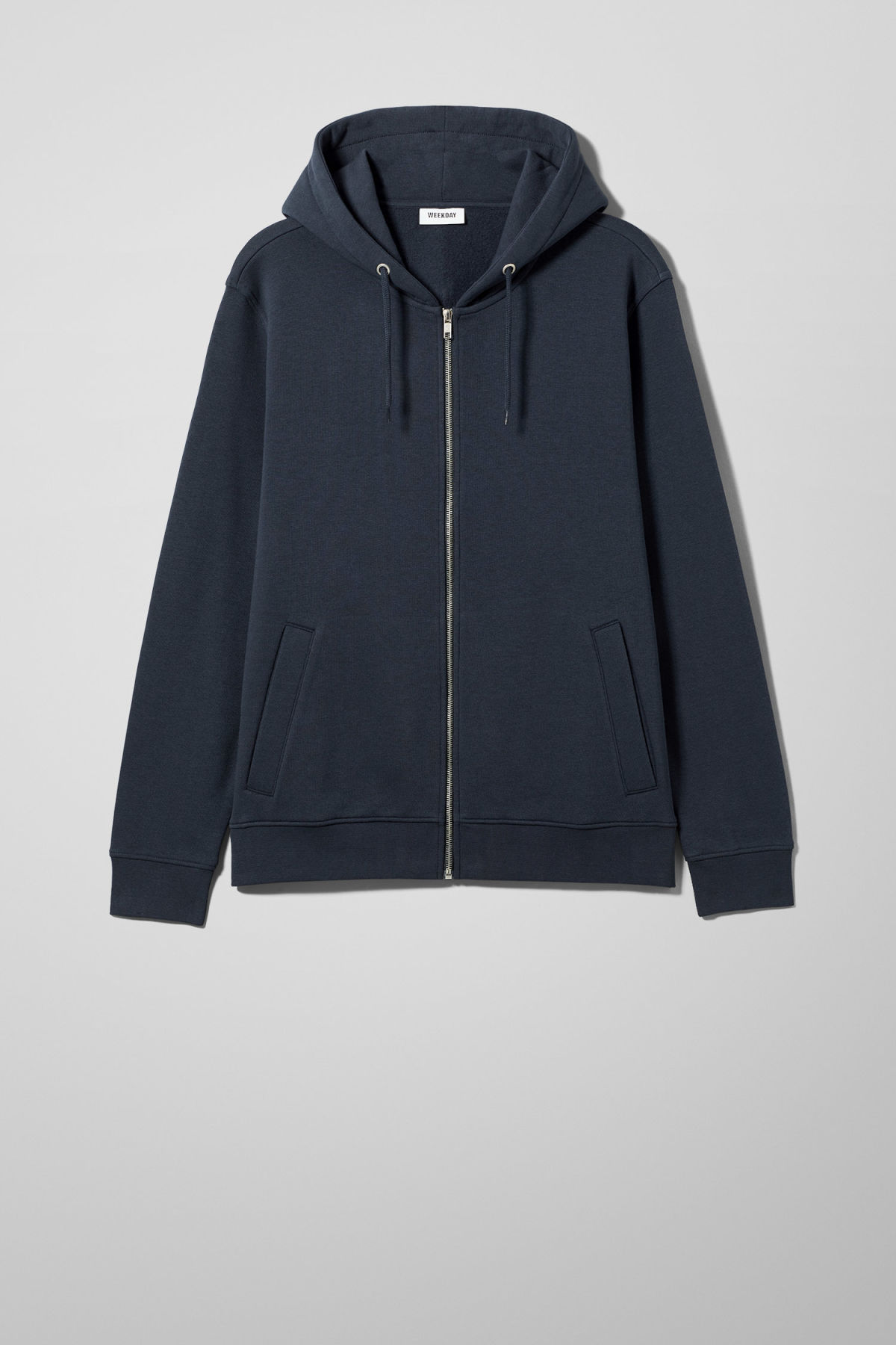 Front image of Weekday boom zipped hoodie in blue