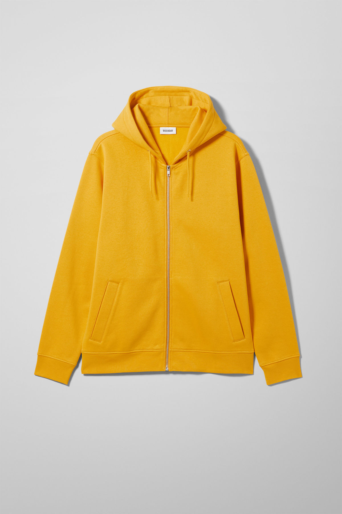 Front image of Weekday boom zipped hoodie in yellow