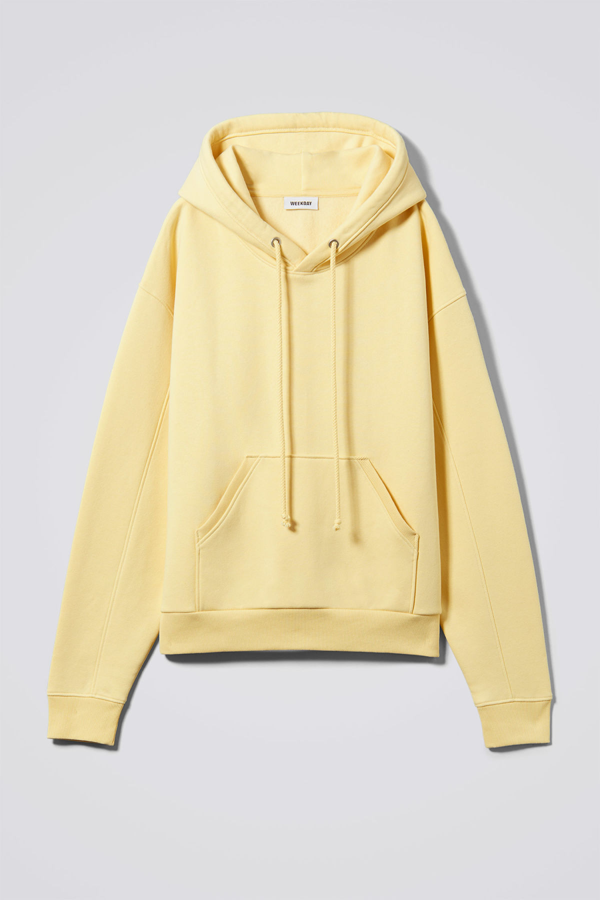 Front image of Weekday ailin hooded sweatshirt in yellow