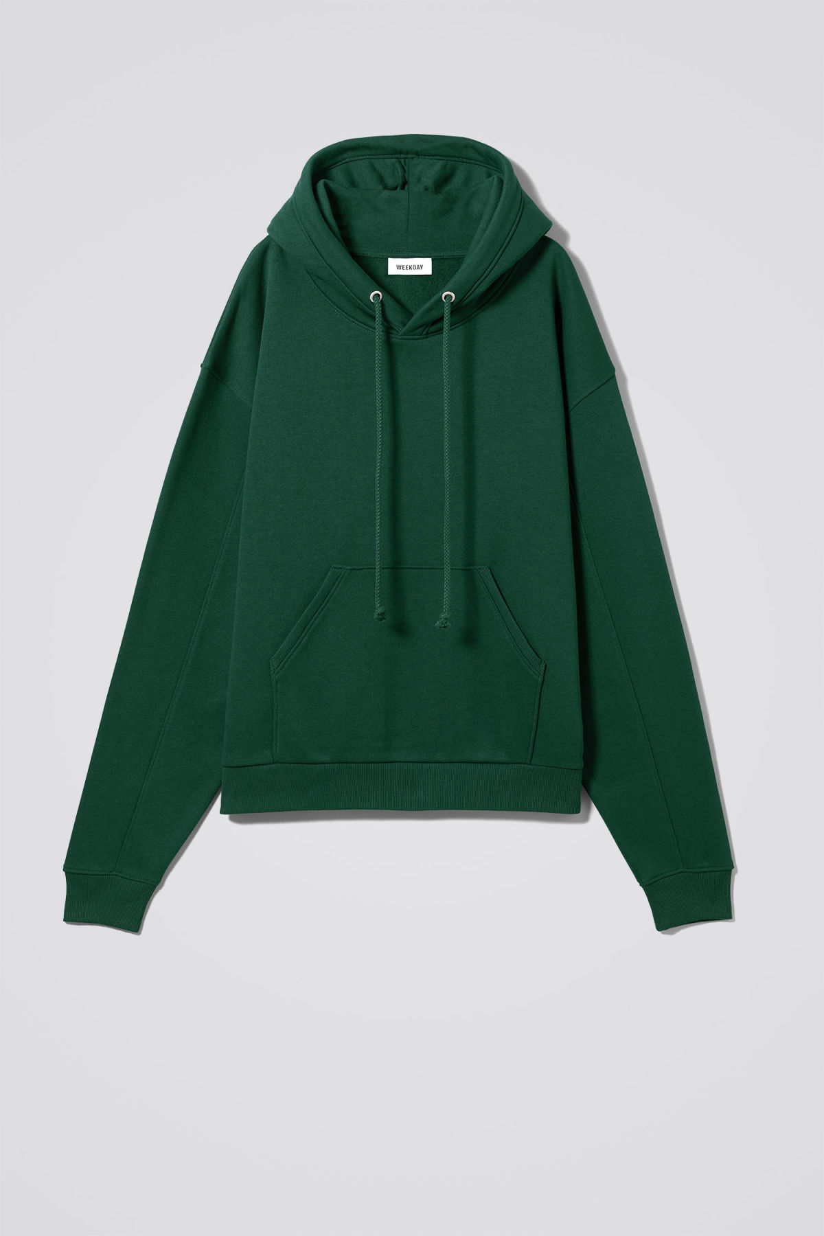 Front image of Weekday ailin hooded sweatshirt in green