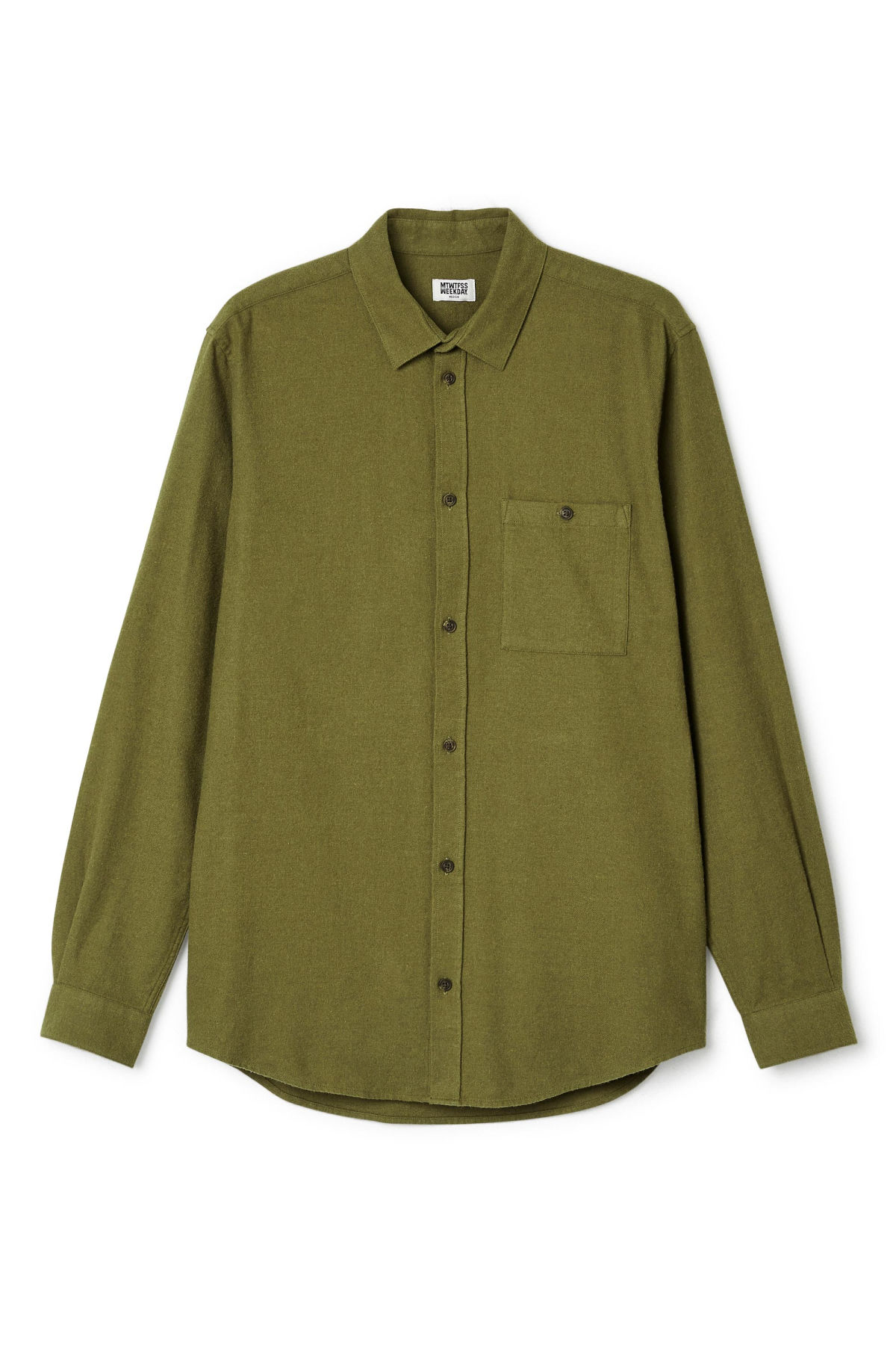 Front image of Weekday delta shirt in green